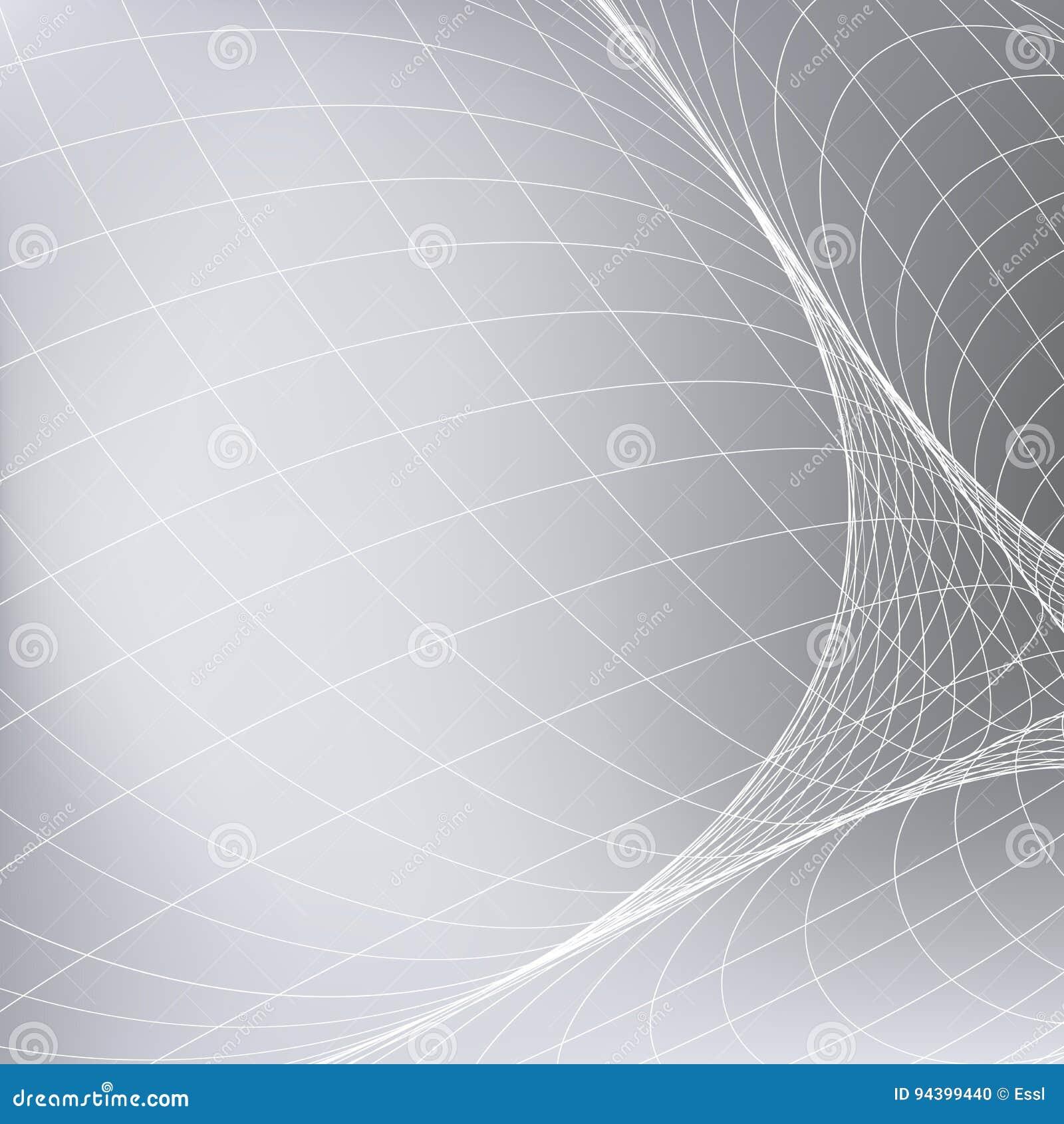 Fondo Gris Abstracto Con La Red Curve Las Líneas En El