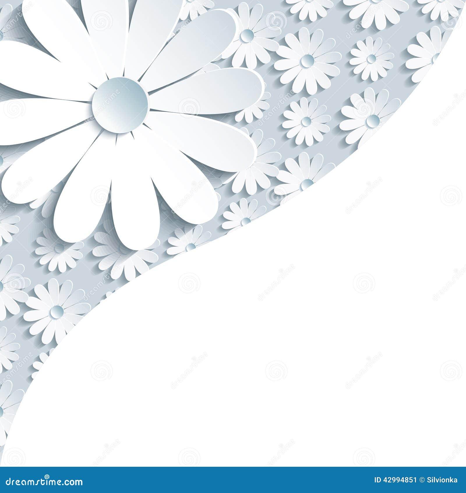 Fondo gris elegante con la manzanilla del blanco 3d