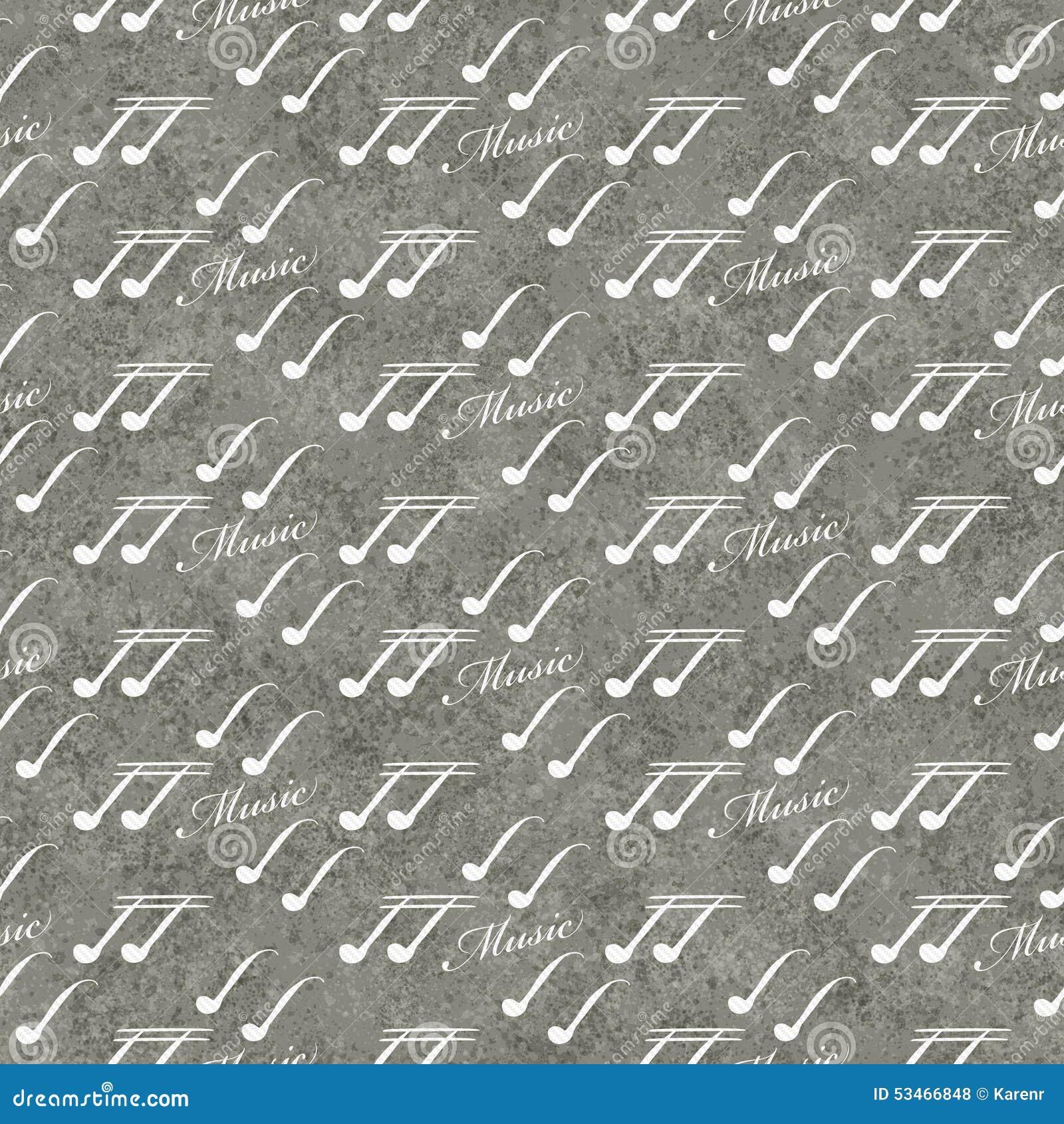 Fondo gris y blanco de la repetición del modelo de la teja del símbolo de música