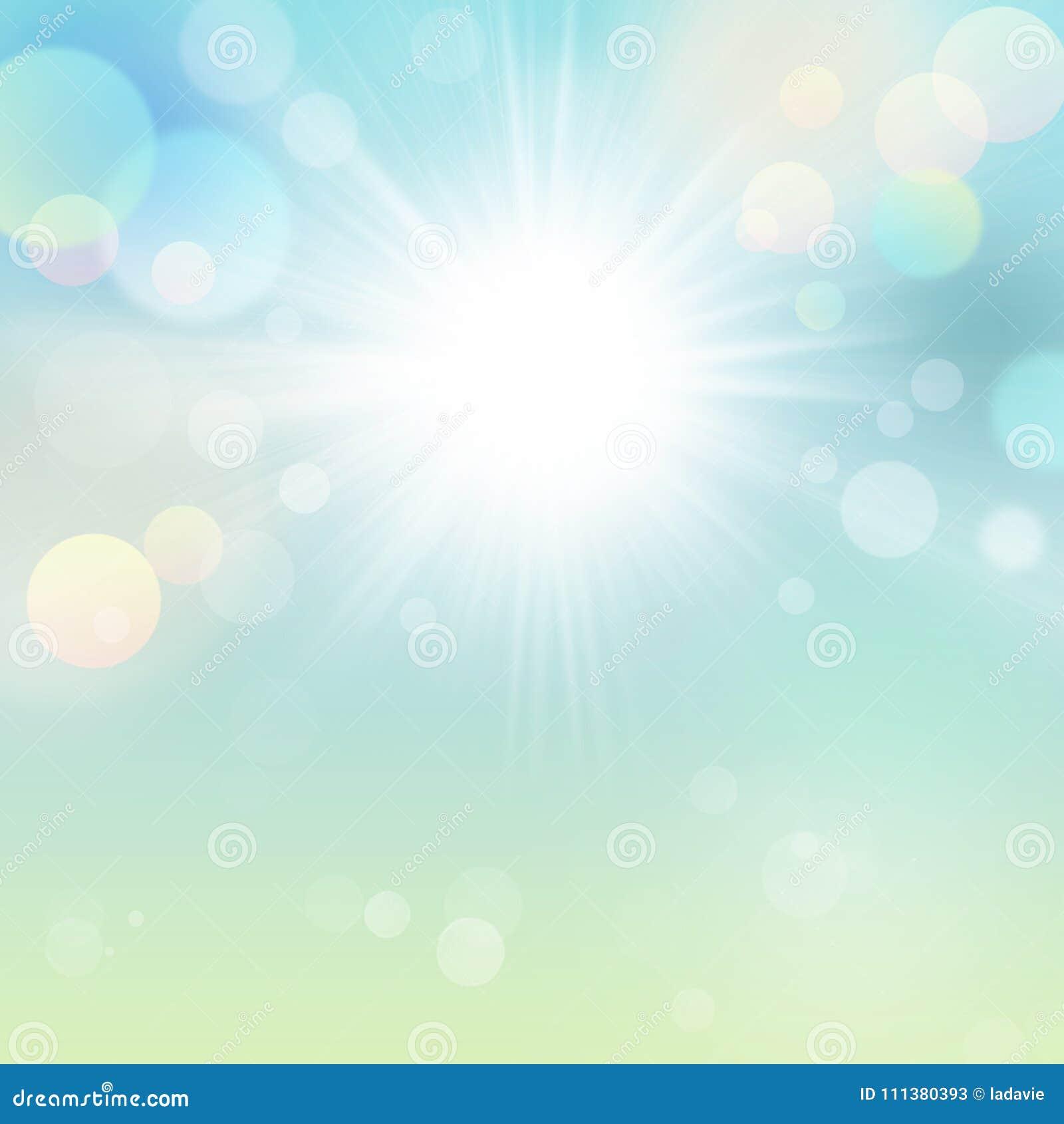 Fondo hermoso de la naturaleza del extracto de Bokeh del verde azul de Sun del verano de la primavera