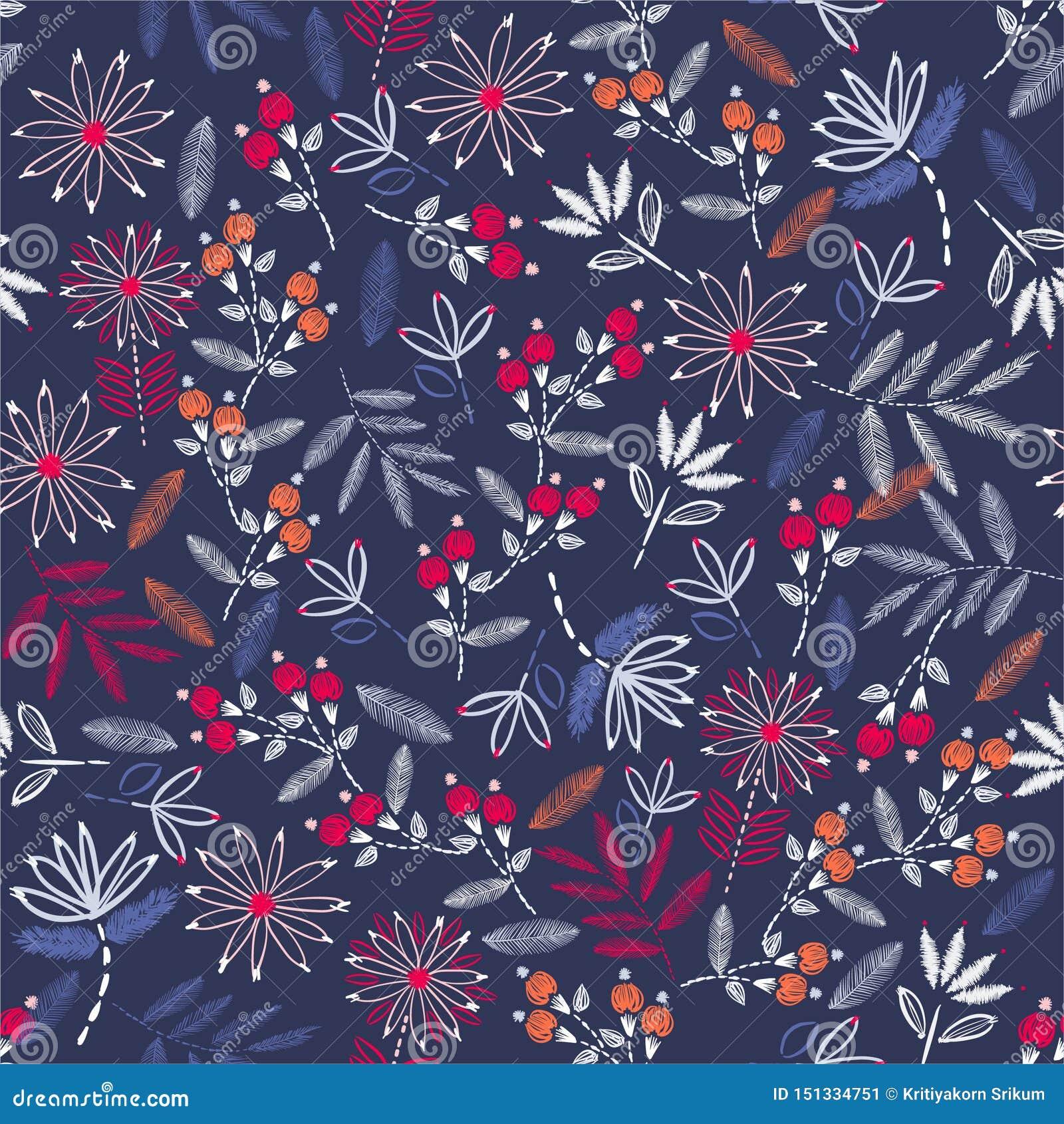 Fondo hermoso de la puntada de la mano del humor del vintage del bordado Bordado floreciente tradicional diseño del ejemplo del v