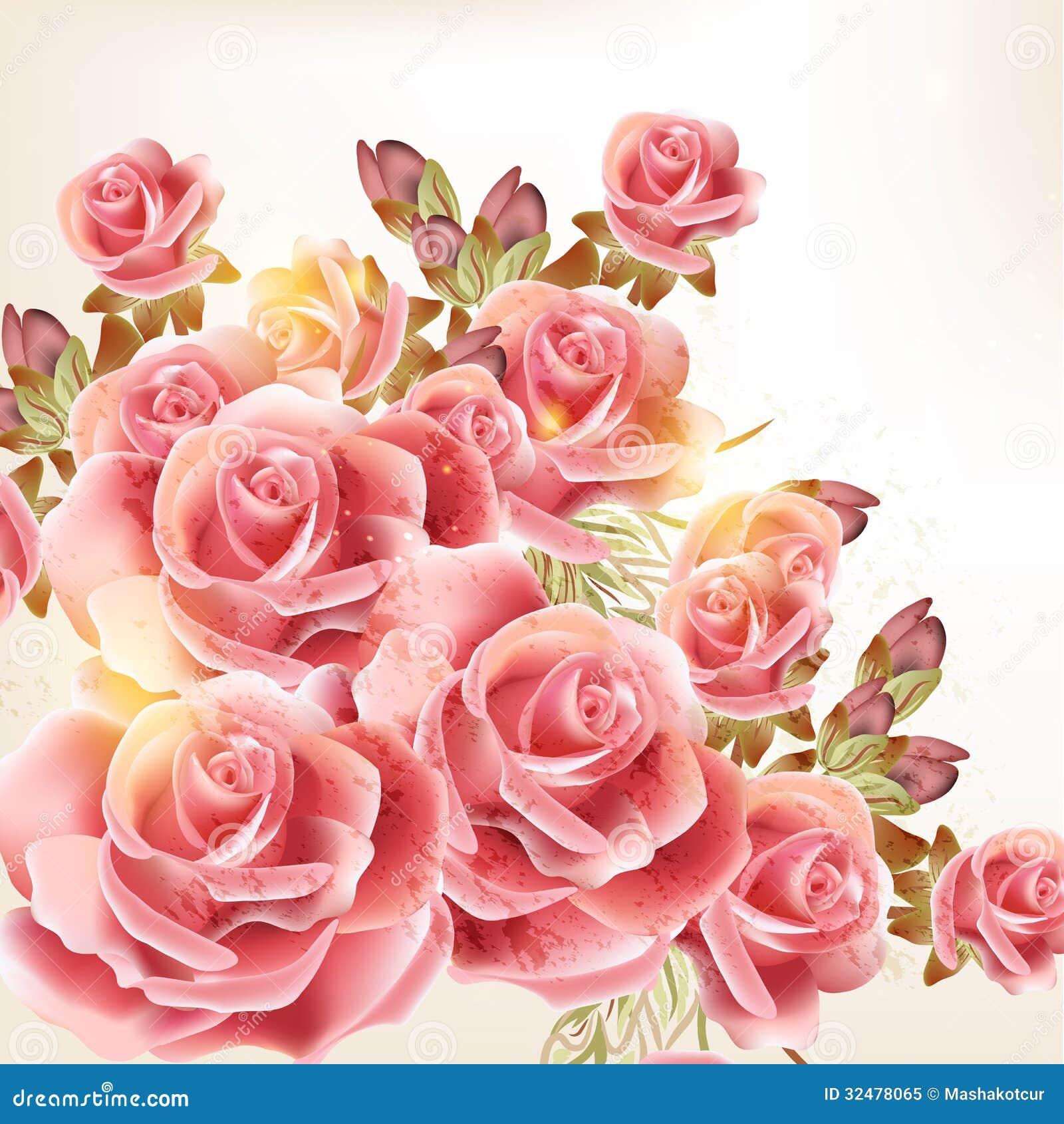 Fondo Hermoso Del Vector En Estilo Del Vintage Con Las Flores Color