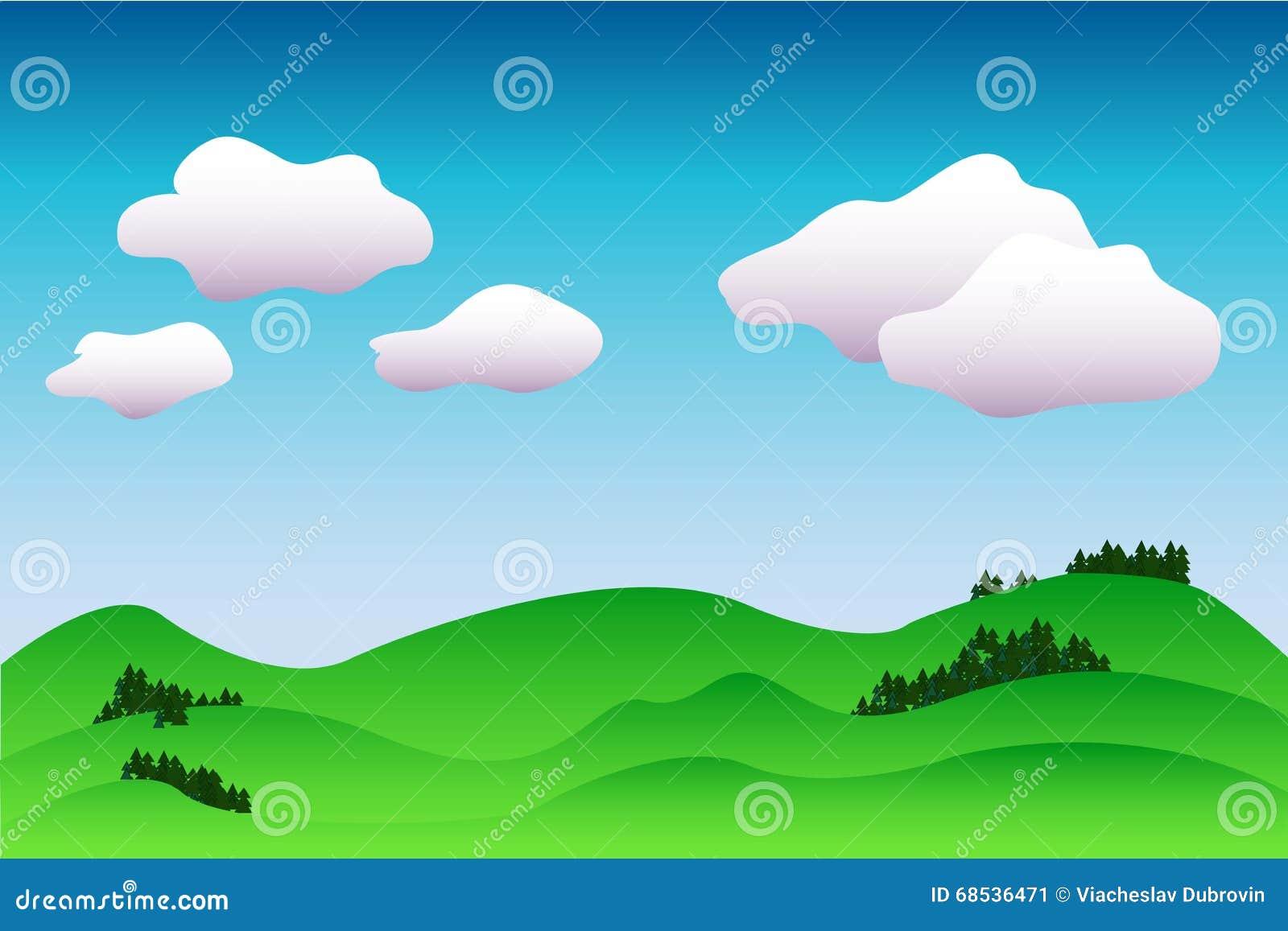 Fondo idílico colorido del paisaje en el ejemplo azul y verde, pacífico con el lugar para el texto