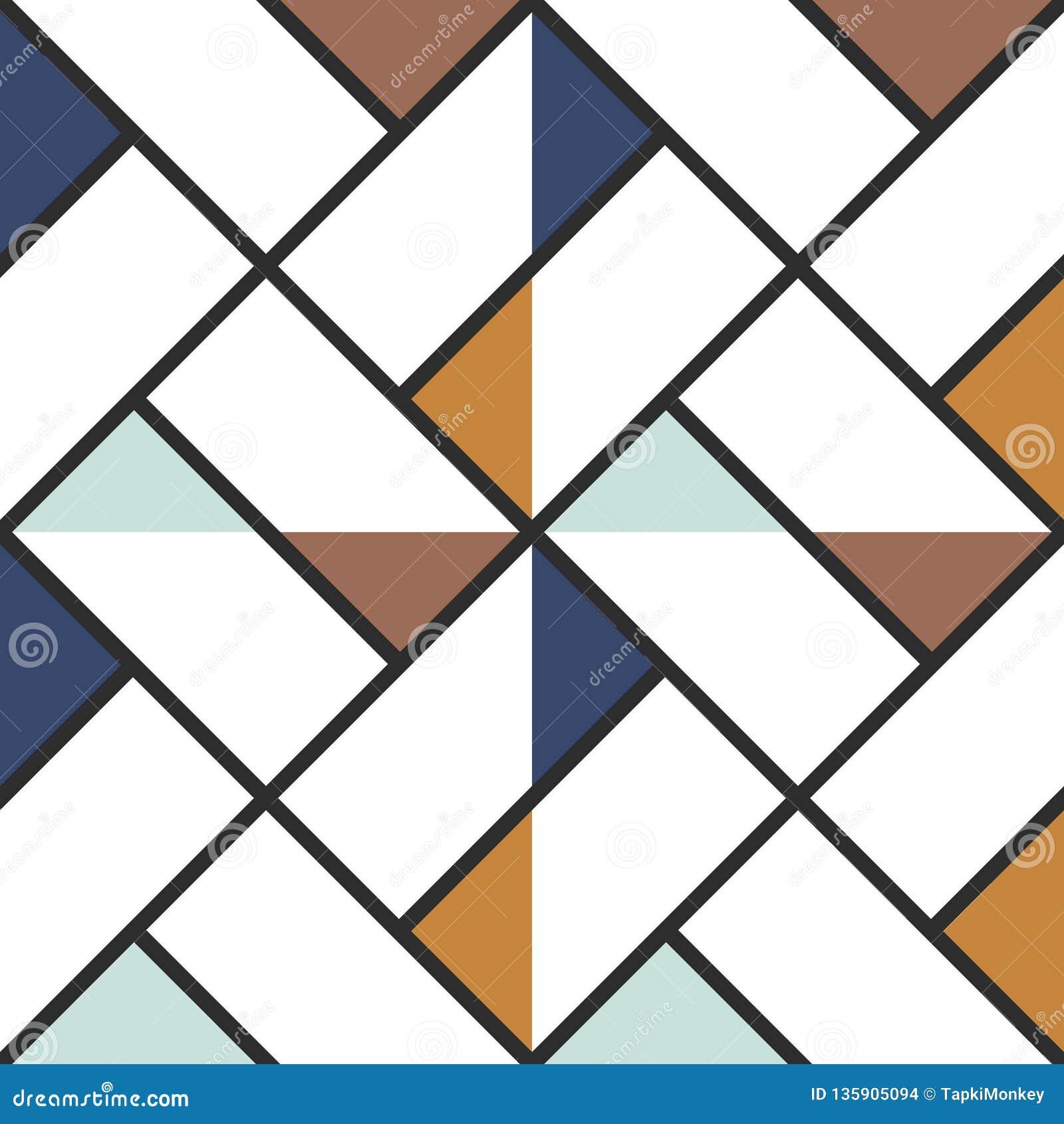 Fondo inconsútil coloreado extracto a cuadros de los triángulos de la baldosa Ilustración del vector