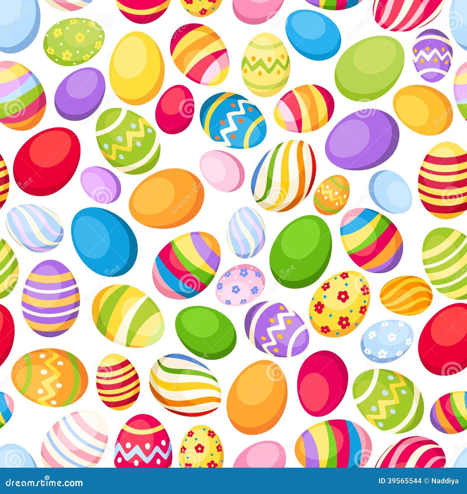 Fondo inconsútil con los huevos de Pascua coloridos. Vec