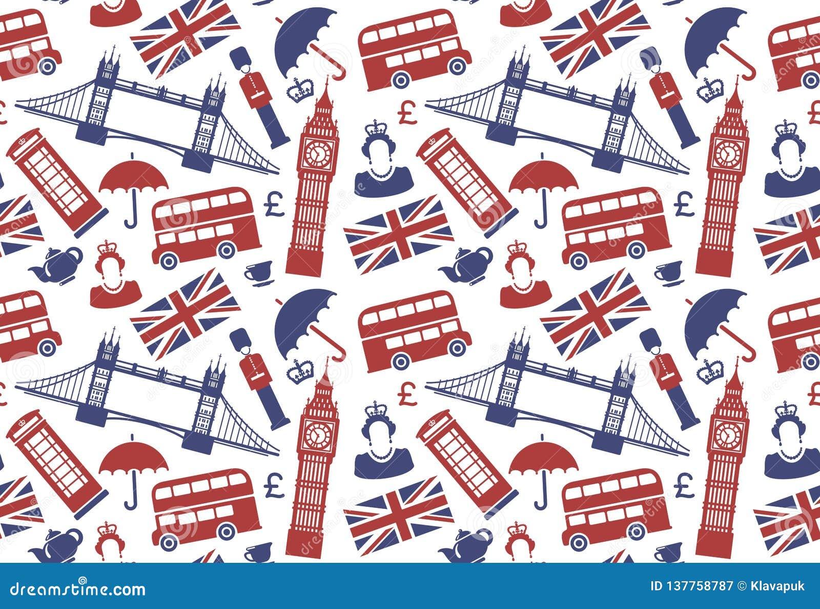Fondo inconsútil con símbolos tradicionales de Inglaterra