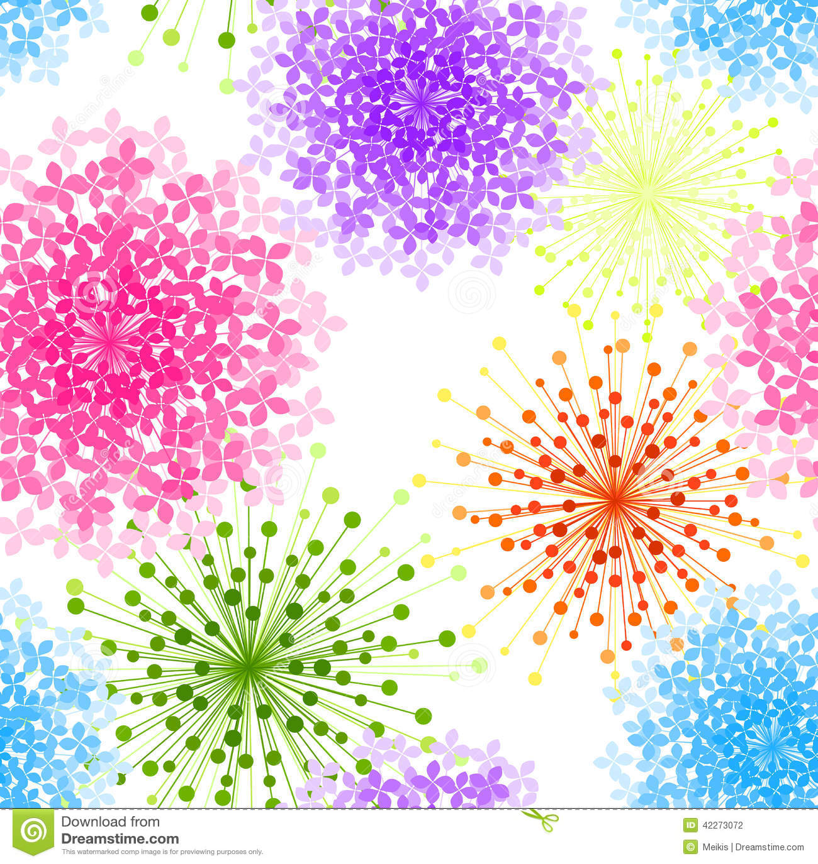 Fondo inconsútil de la flor colorida de la hortensia