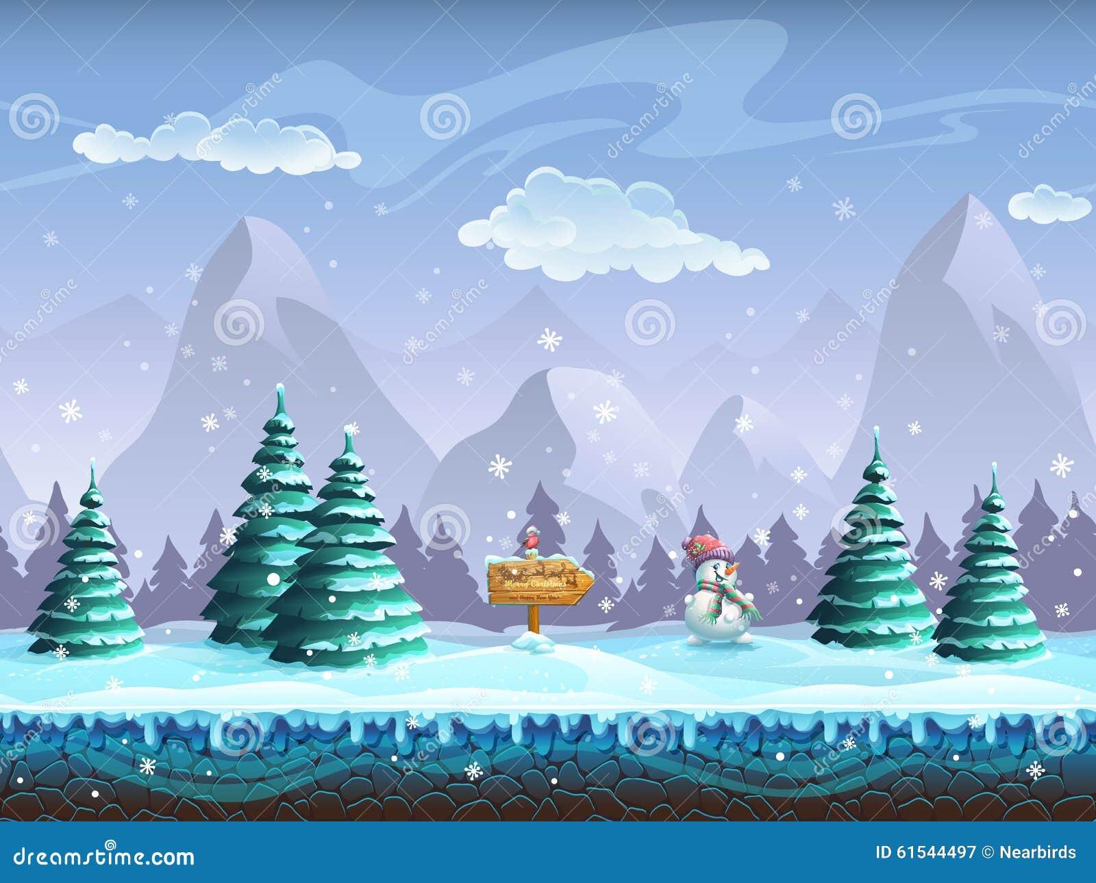 Fondo inconsútil de la historieta con el muñeco de nieve y el piñonero de la muestra del paisaje del invierno