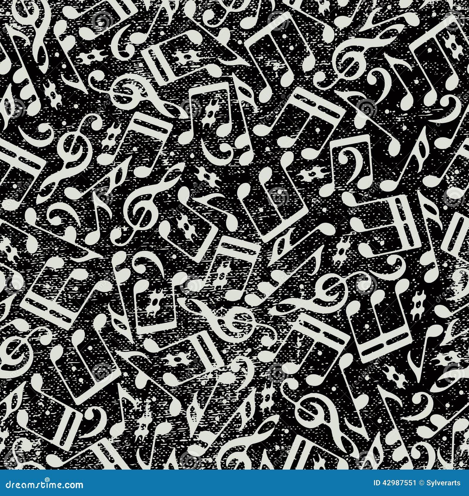 Fondo inconsútil de la música con las notas musicales y la textura del grunge