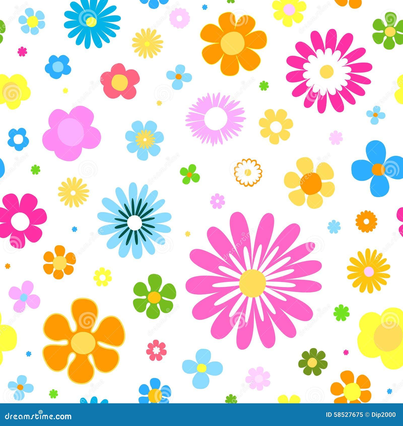 Fondo Inconsútil De Las Flores Con Colores Vibrantes Ilustración Del