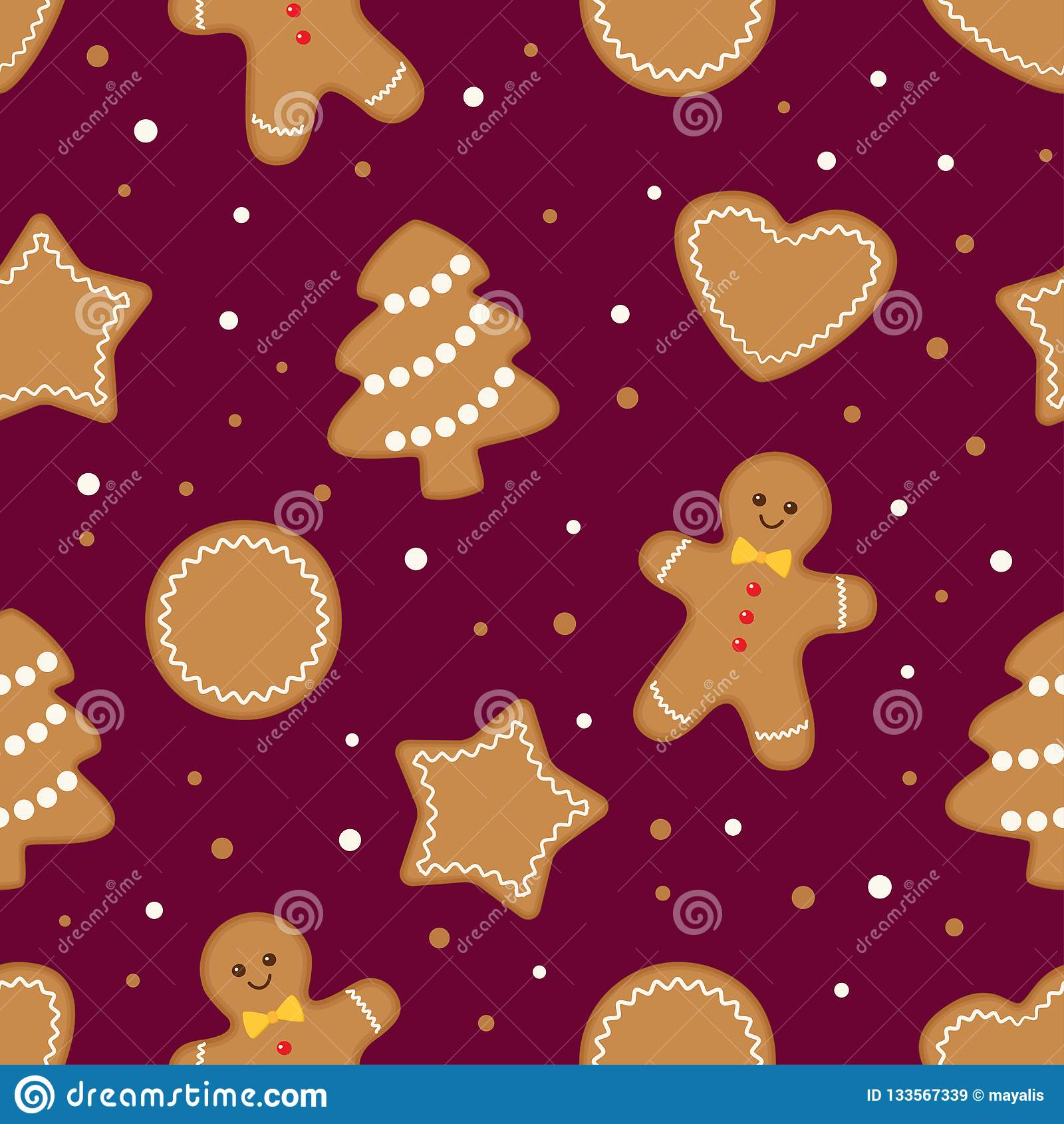 Fondo inconsútil de las galletas de la Navidad del pan de jengibre