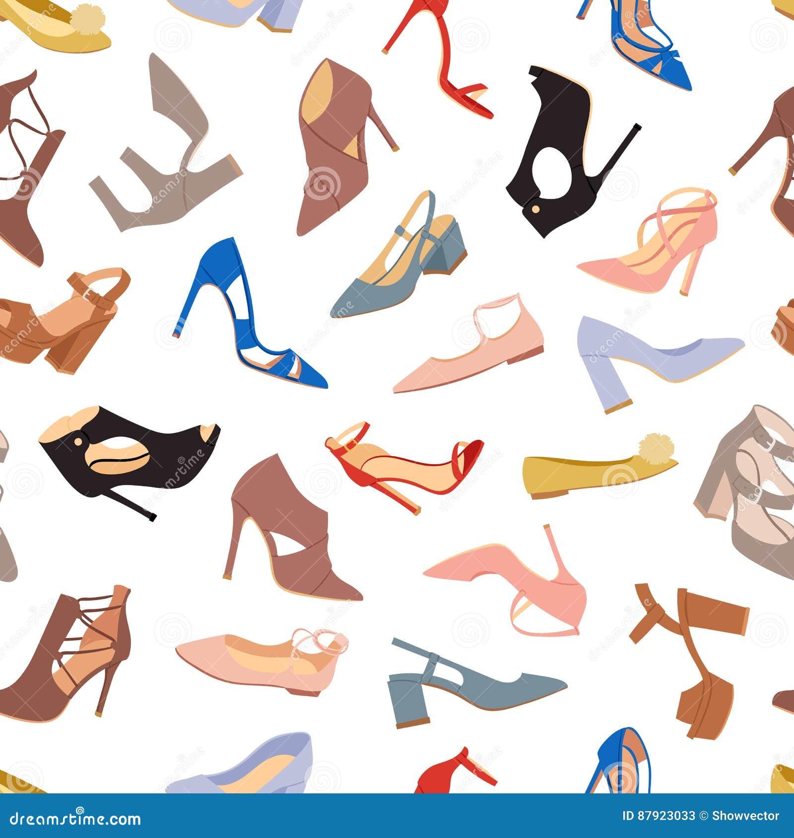 50c832ed Sistema del vector plano del diseño de los zapatos para mujer Colección de  ejemplo coloreado cuero de las botas de los mocasines Desgaste por todas  las ...