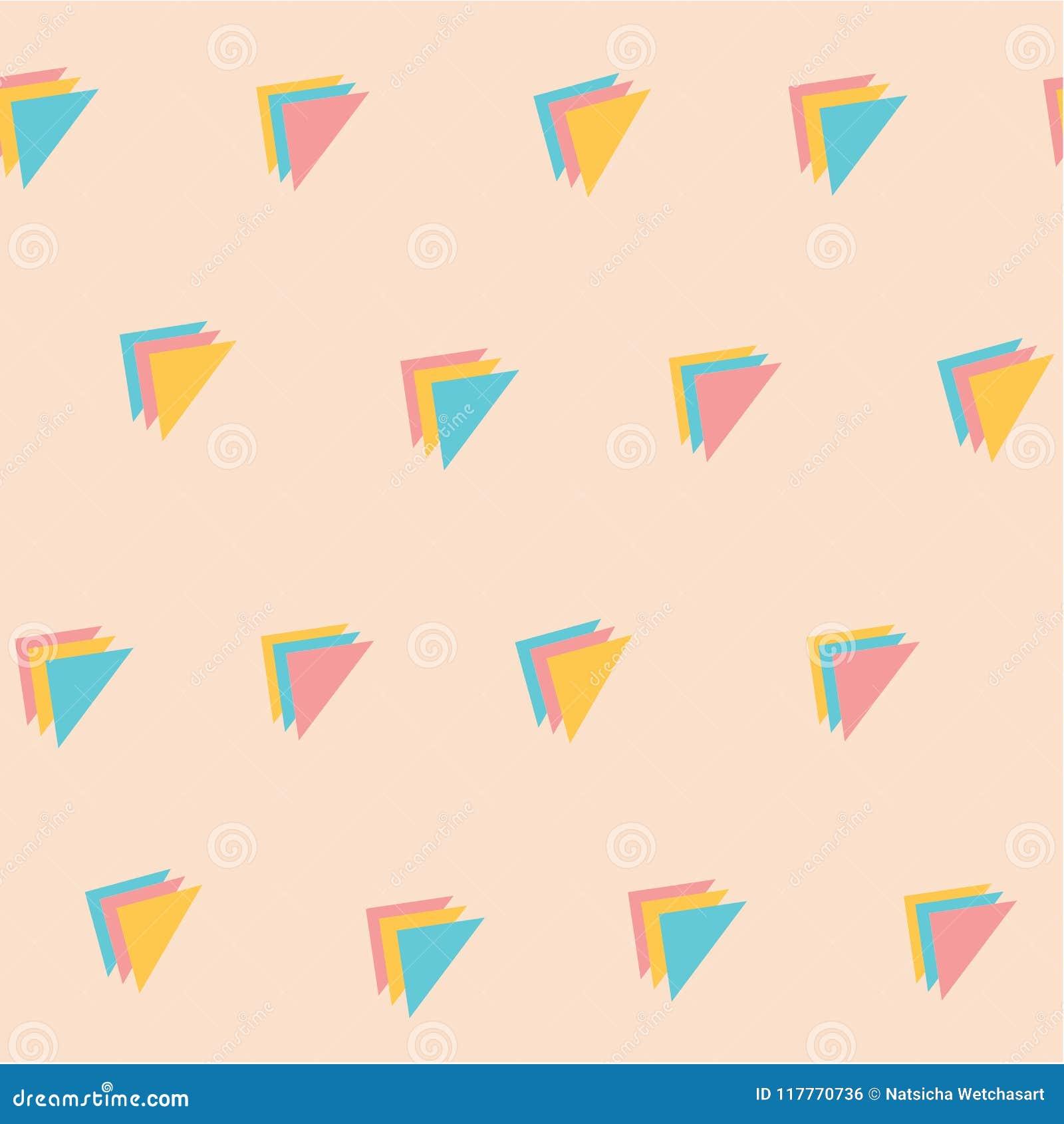 Fondo inconsútil del color en colores pastel del triple del modelo dulce del triángulo