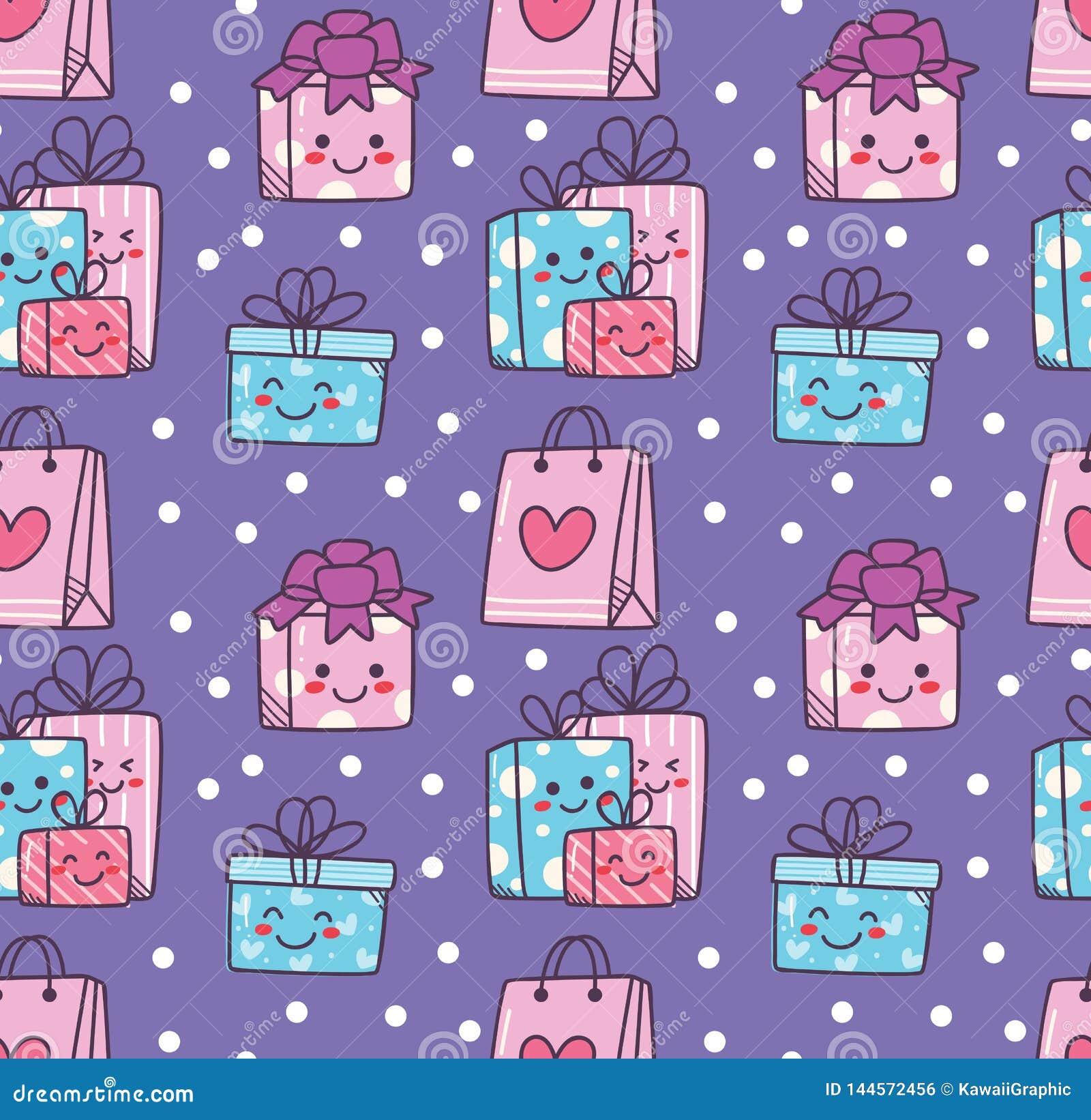 Fondo inconsútil del garabato del cumpleaños con la caja de regalo del kawaii