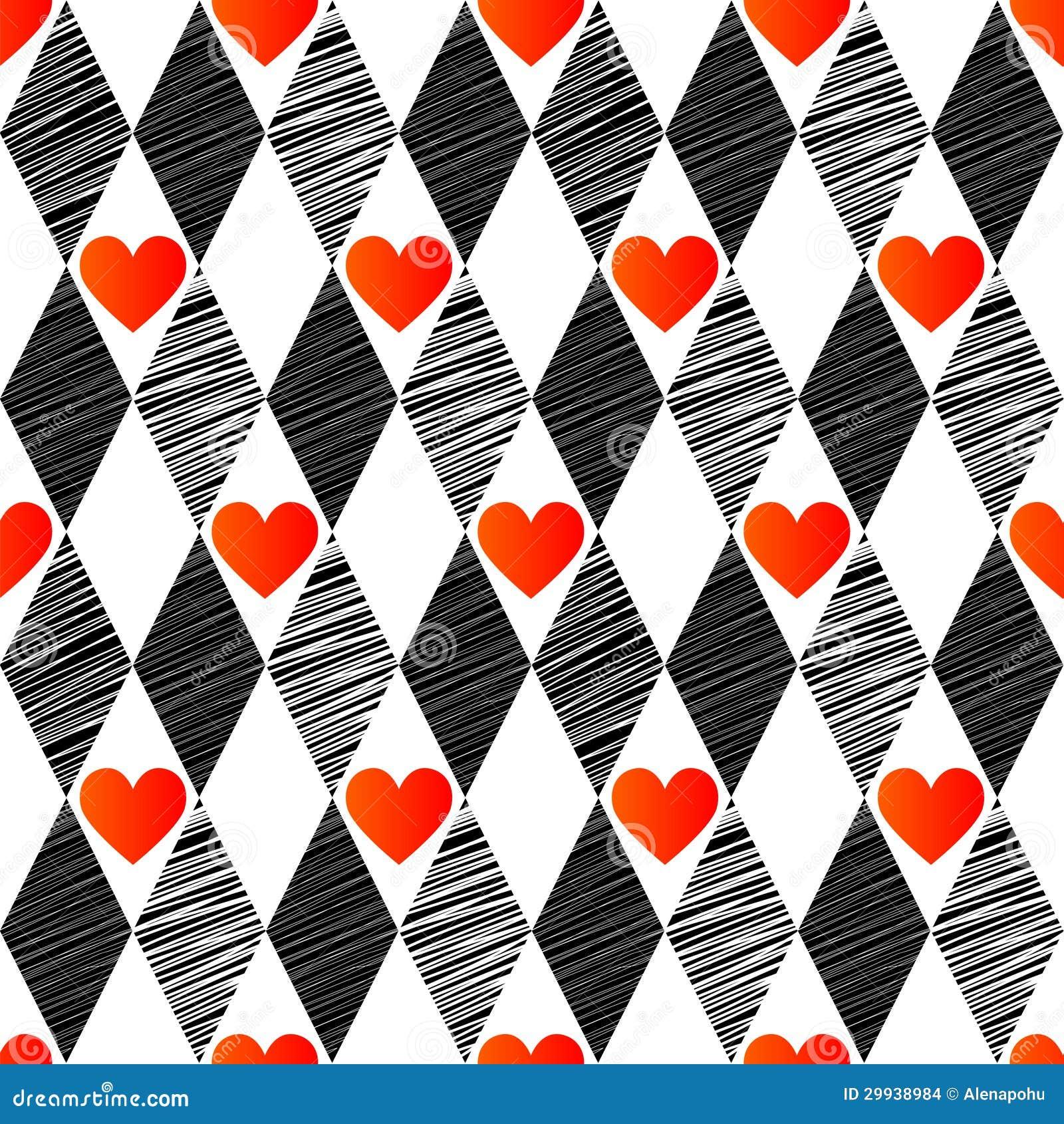 Fondo incons til con el rhombus y los corazones imagenes - Papel de pared blanco y negro ...