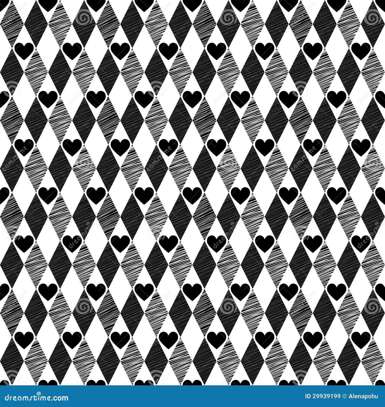 Fondo incons til negro con el rhombus y los corazones - Papel de pared blanco y negro ...