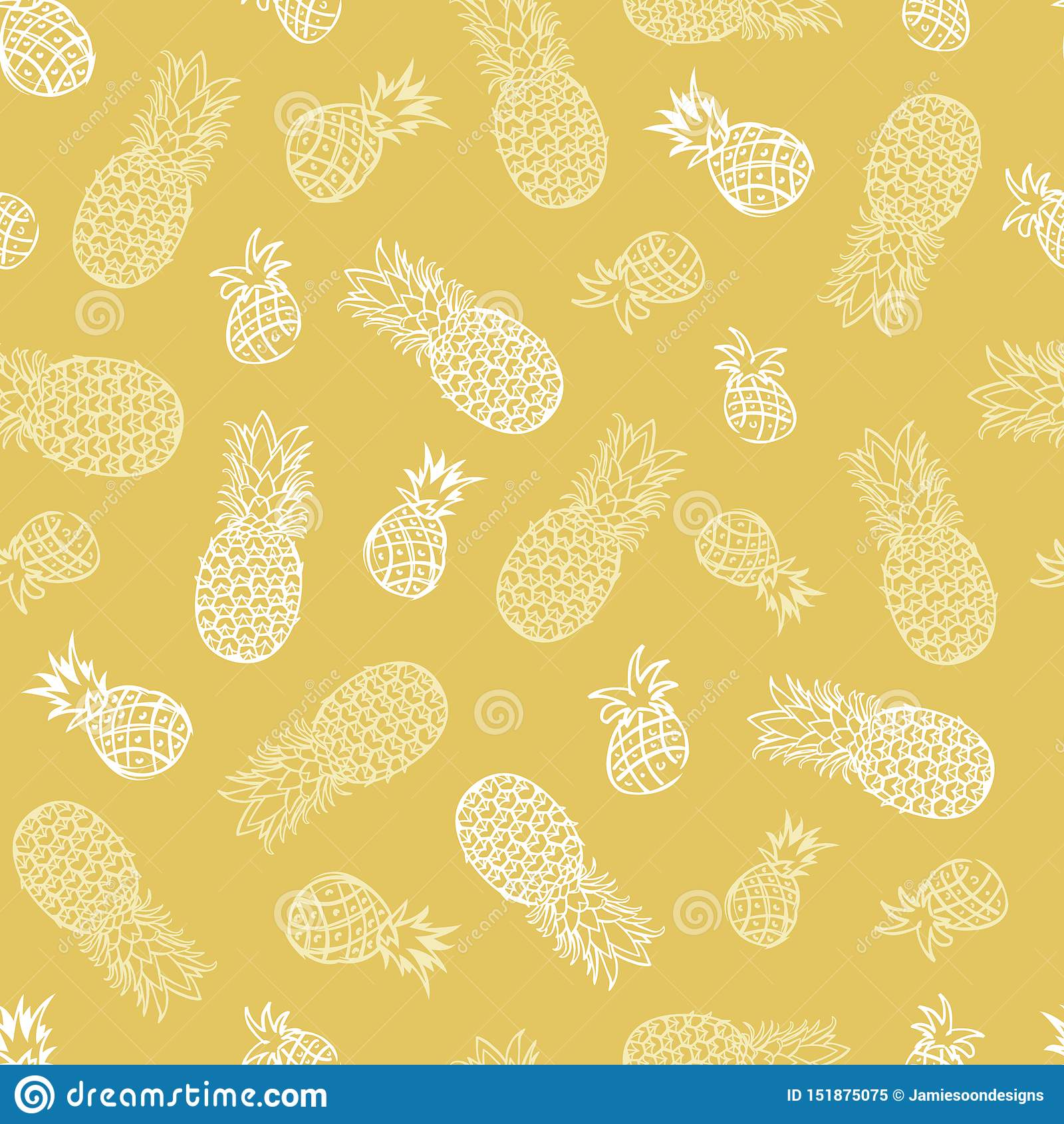 Fondo inconsútil del modelo de la piña tropical beige del vector Perfeccione para la tela, scrapbooking, los proyectos del papel