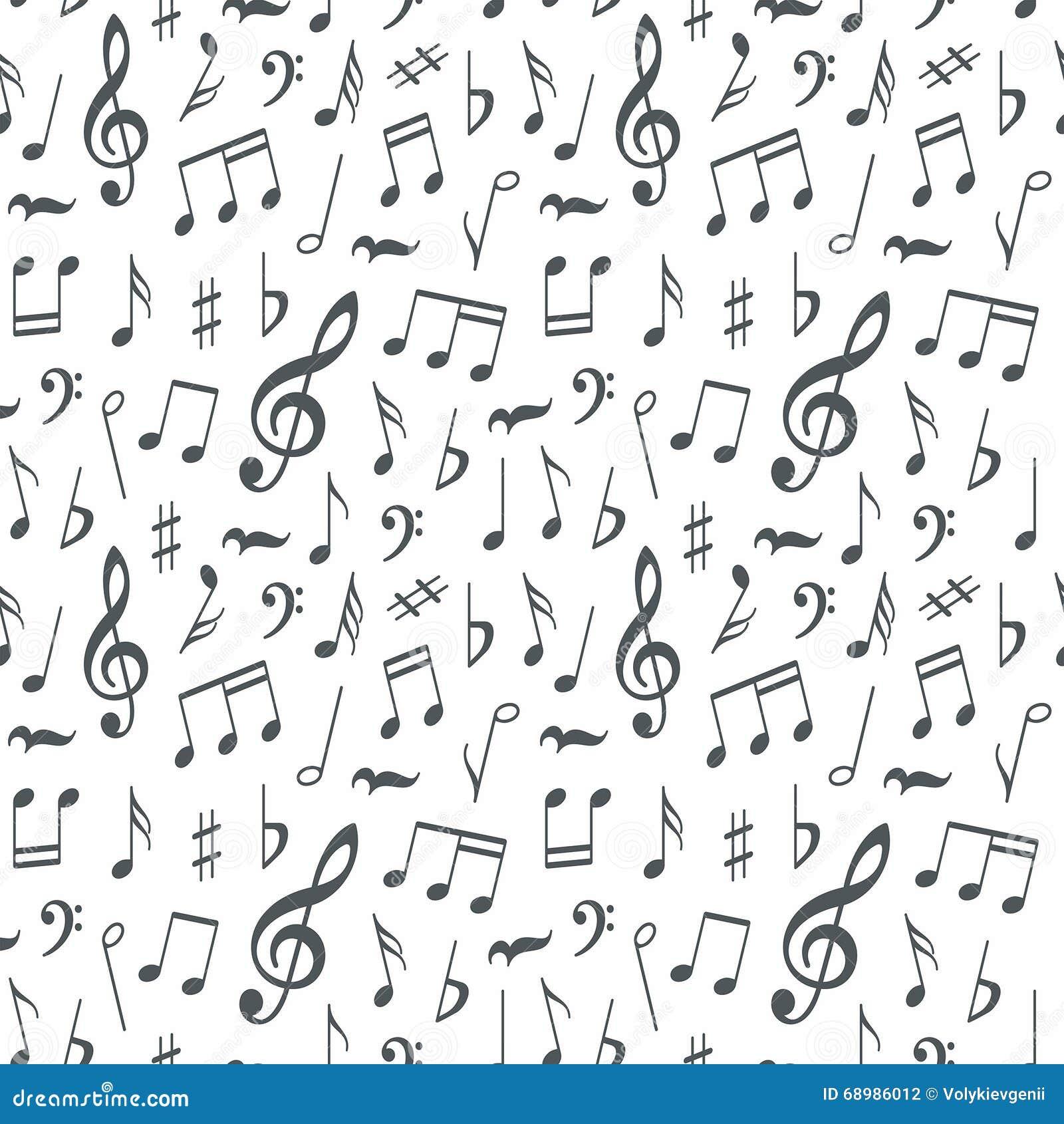 Fondo inconsútil del modelo de las notas musicales