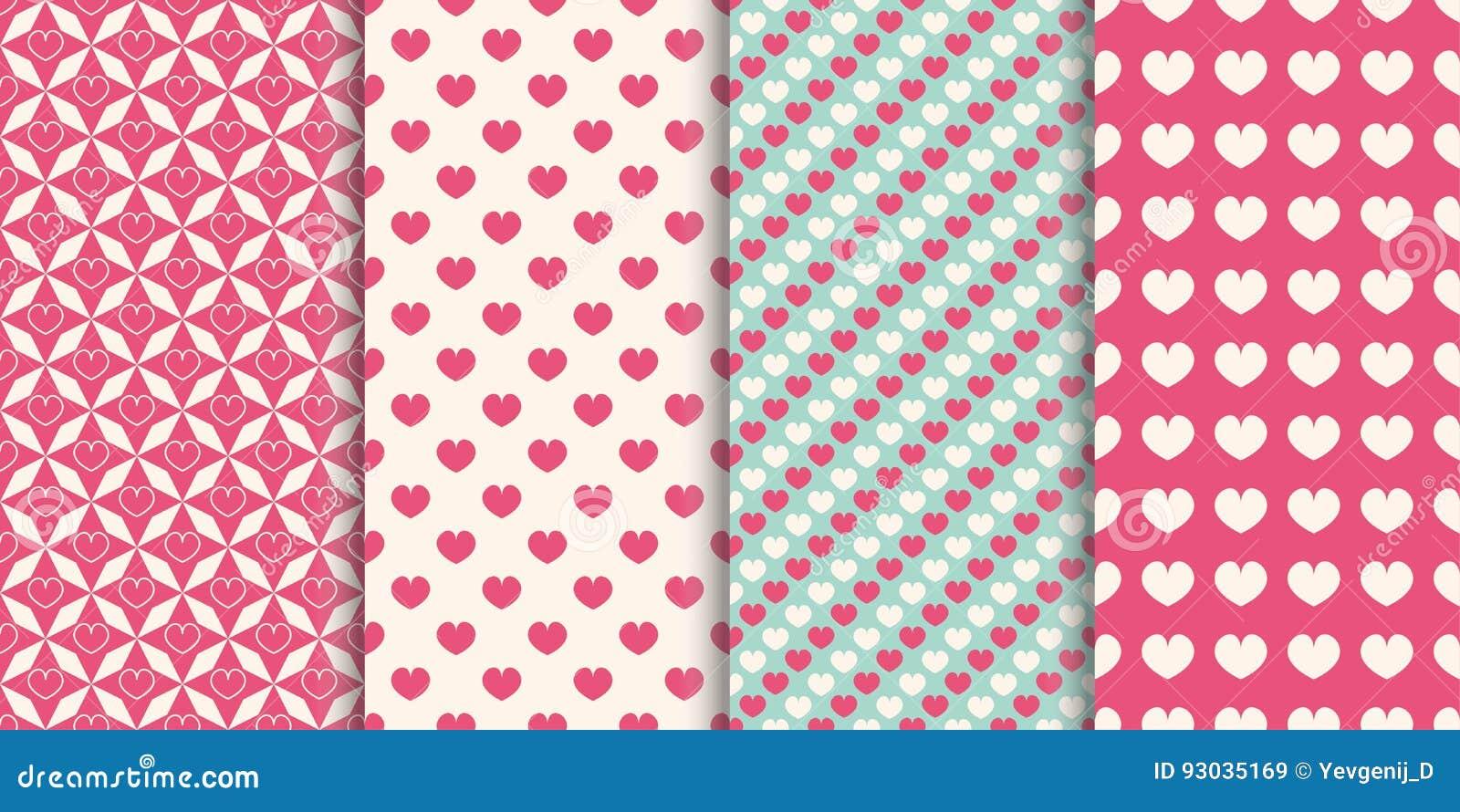 Fondo inconsútil del modelo del corazón El sistema de diversos modelos para la envoltura, día de fiesta imprime, wallpaper, libro
