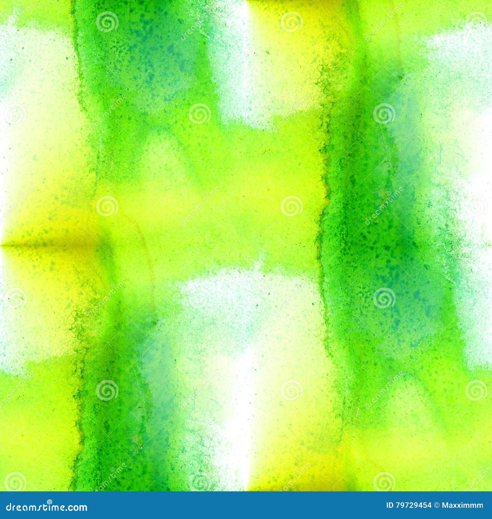 Fondo inconsútil del modelo del verde amarillo Arte pintado a mano de la acuarela hecha a mano abstracta