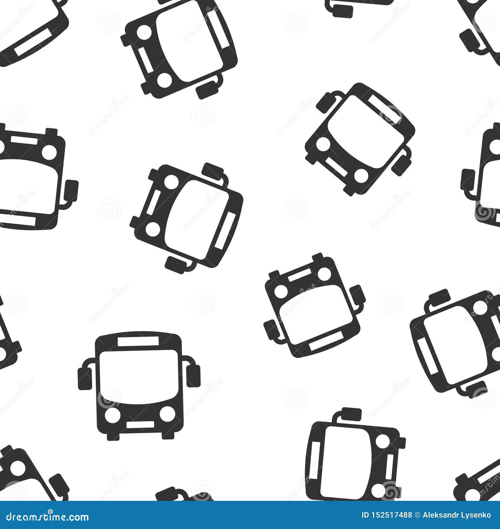 Fondo inconsútil del modelo del icono del autobús escolar Ejemplo del vector del Autobus en el fondo aislado blanco Negocio del t