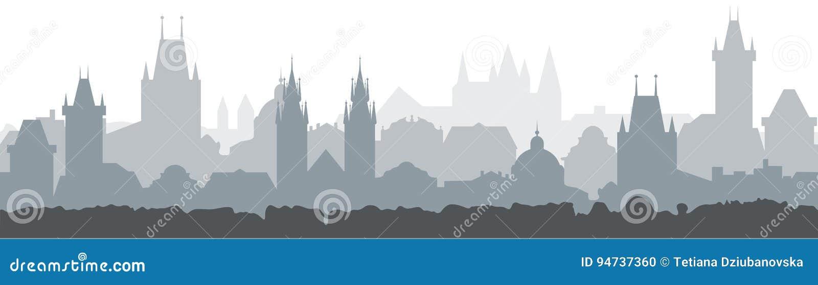 Fondo inconsútil del paisaje urbano Diseño del ejemplo del vector - ciudad de Praga