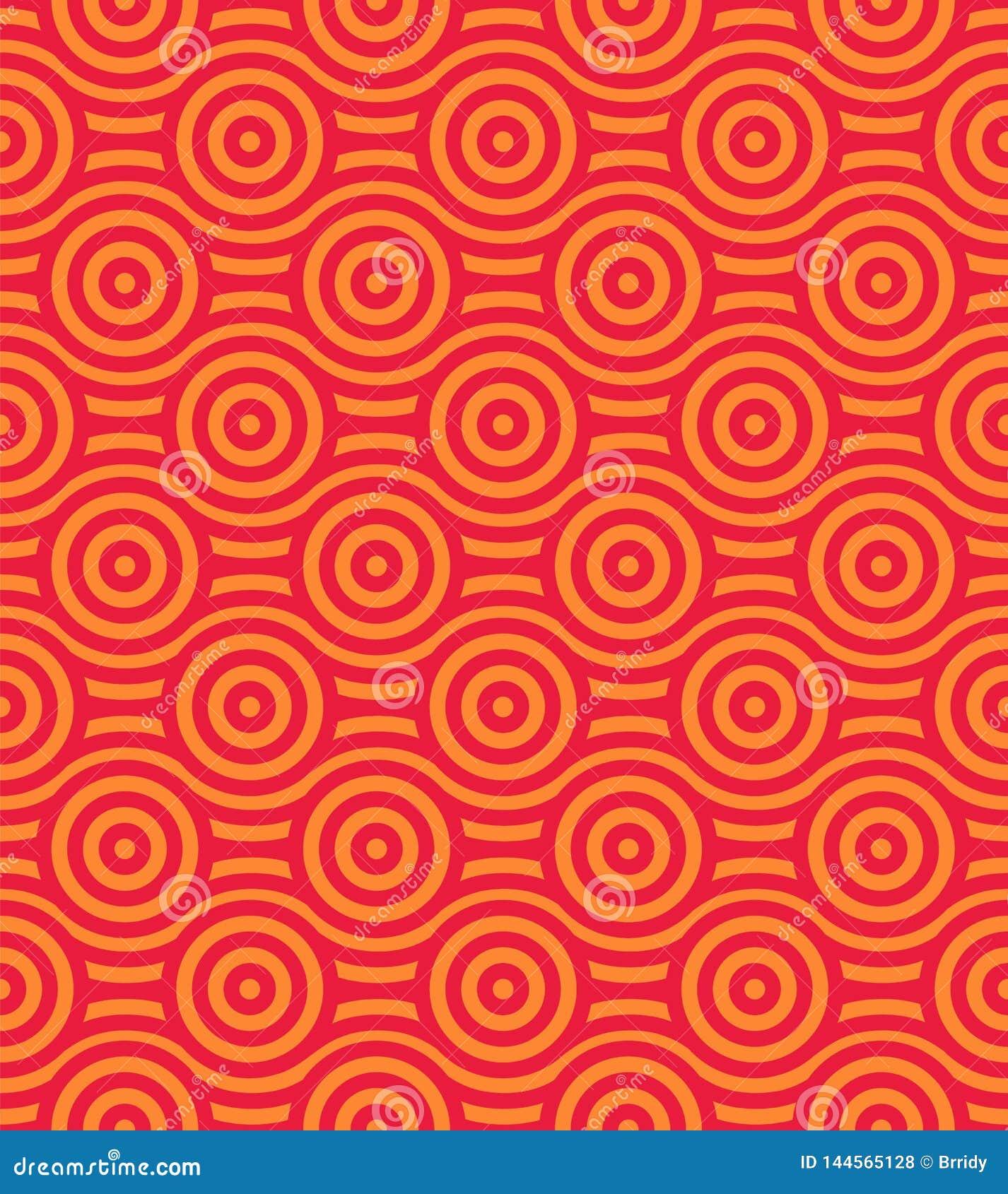 Fondo inconsútil del vector con el modelo en estilo asiático Ornamento decorativo rojo y amarillo