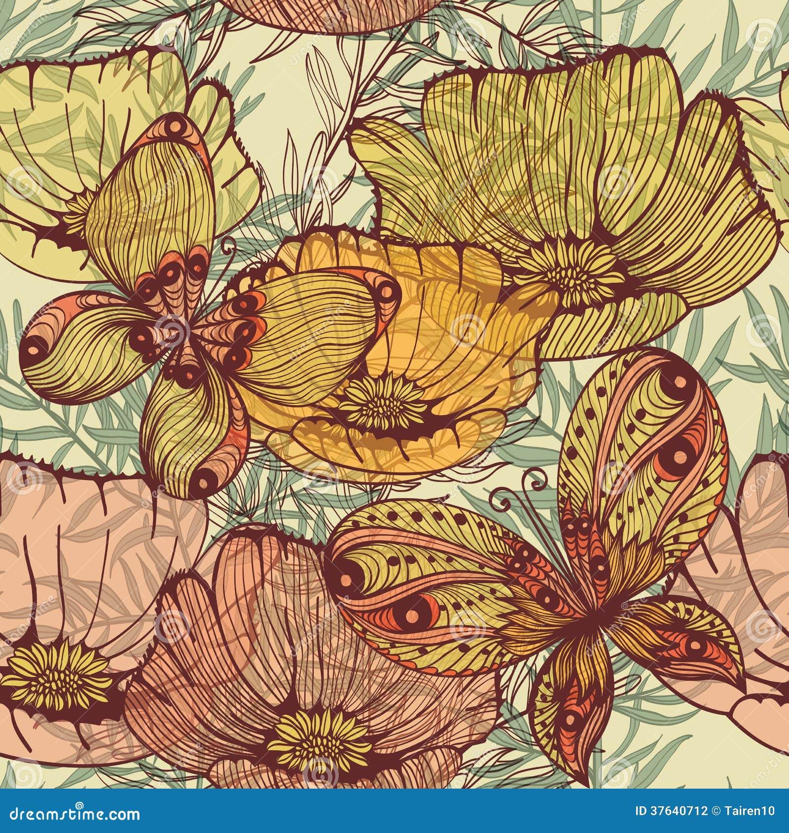 Fondo Inconsutil Del Vintage Con Las Flores Salvajes Y Las Mariposas