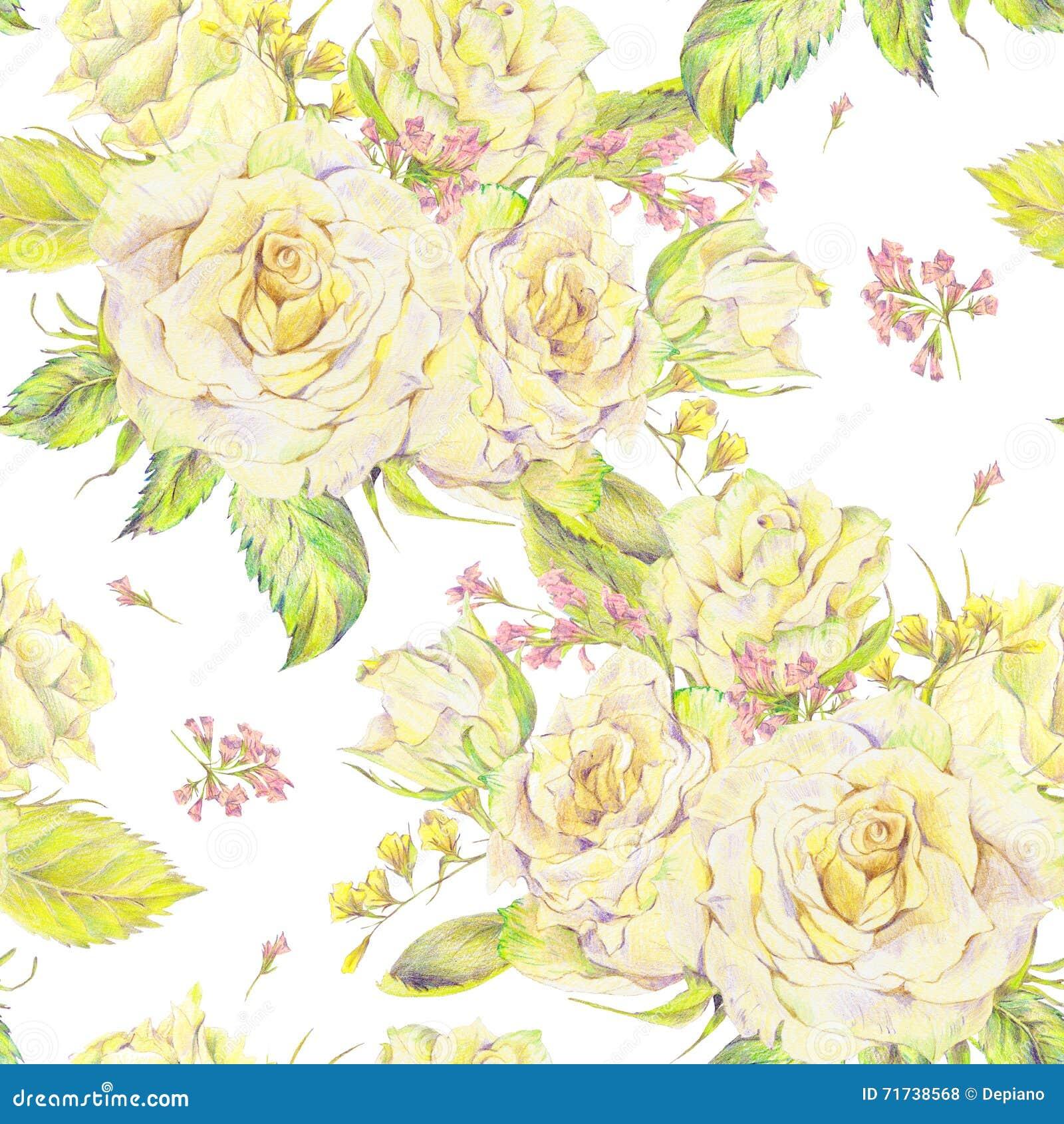 Fondo Inconsútil Dibujado Mano Floral Con El Ramo De Rosa Del Blanco
