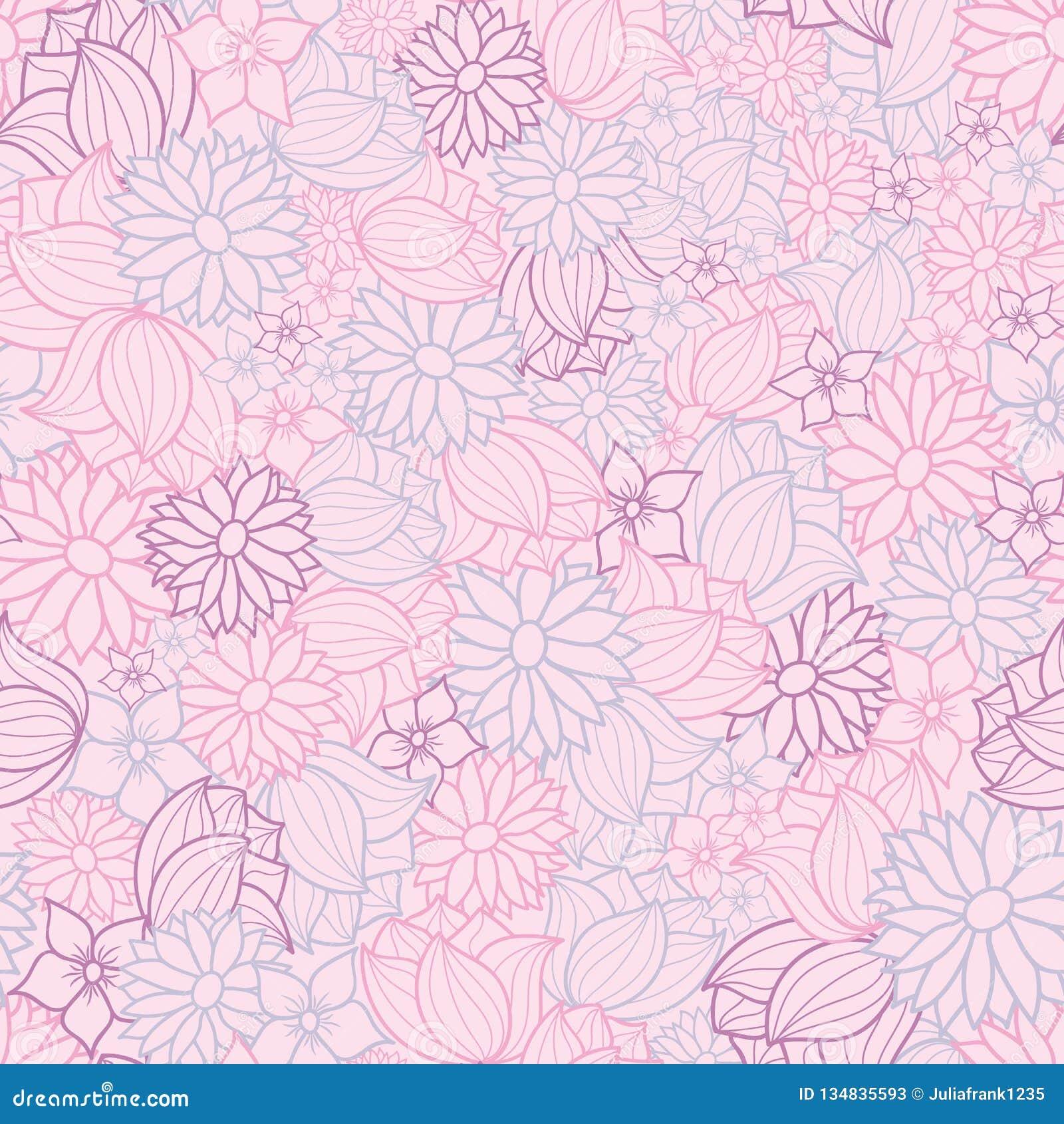 Fondo inconsútil floral del modelo del rosa, púrpura y azul del vector