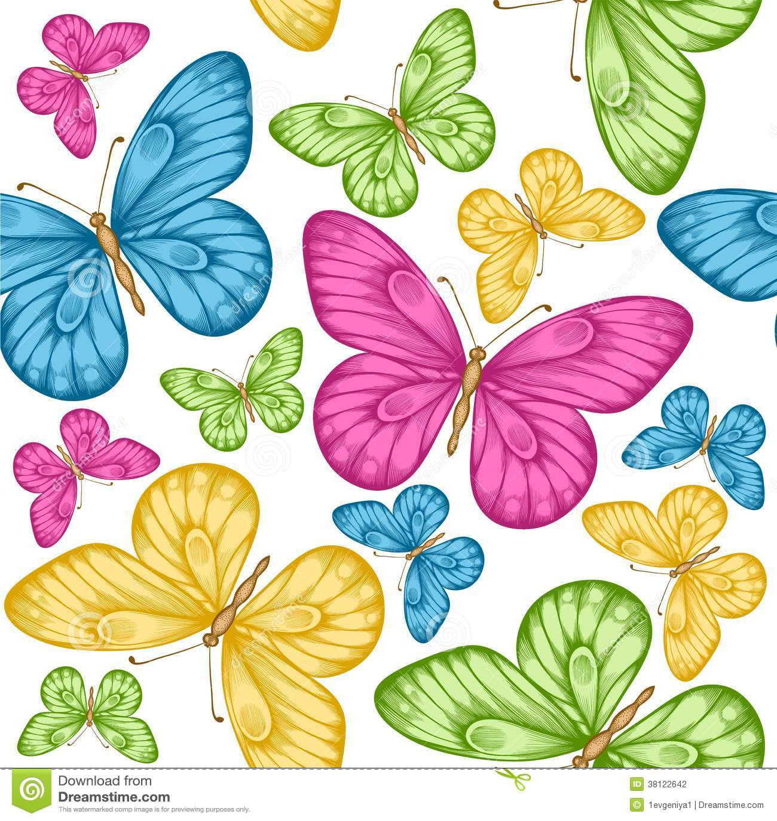 Fondo inconsútil hermoso con las mariposas coloridas