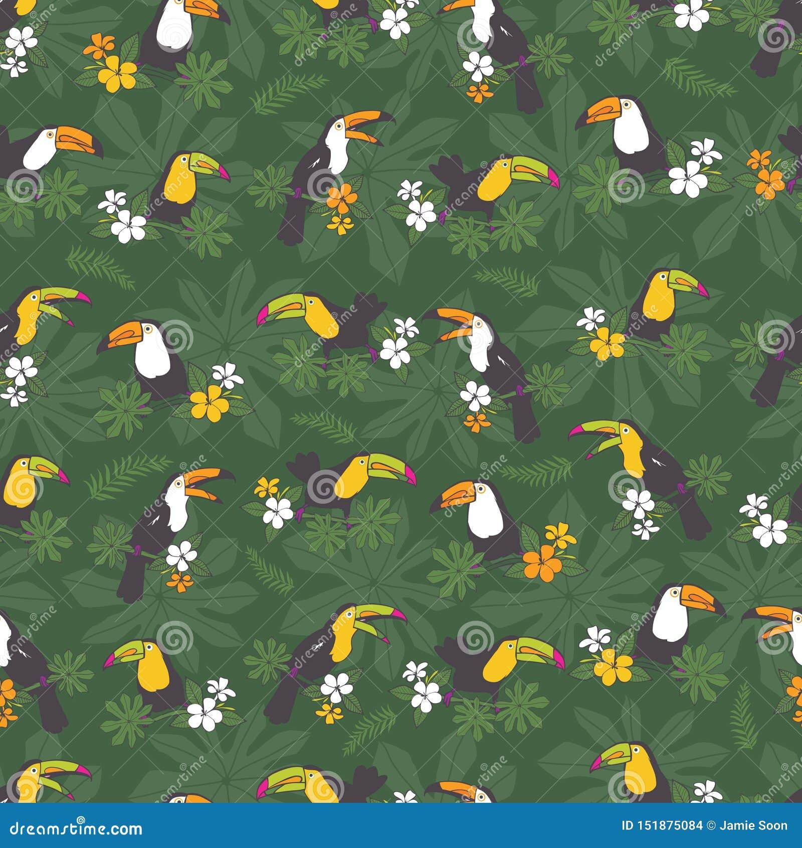 Fondo inconsútil tropical verde oscuro del modelo de la fiesta de cumpleaños del vector Con los pájaros del tucán Perfeccione par