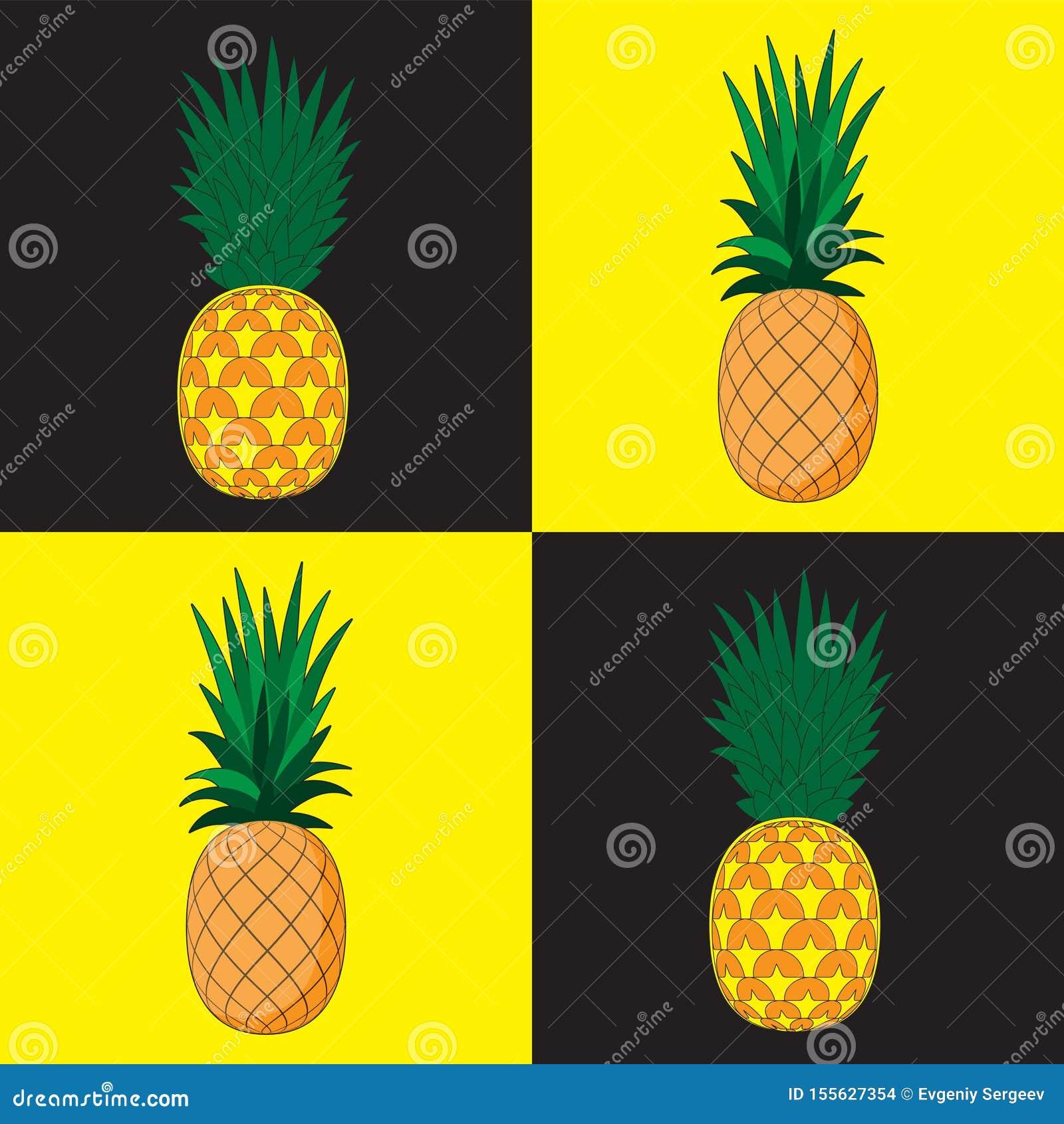 Fondo incons?til del modelo Piña en el fondo el amarillo negro de los dados Bandera del paño del papel del diseño de la impresión