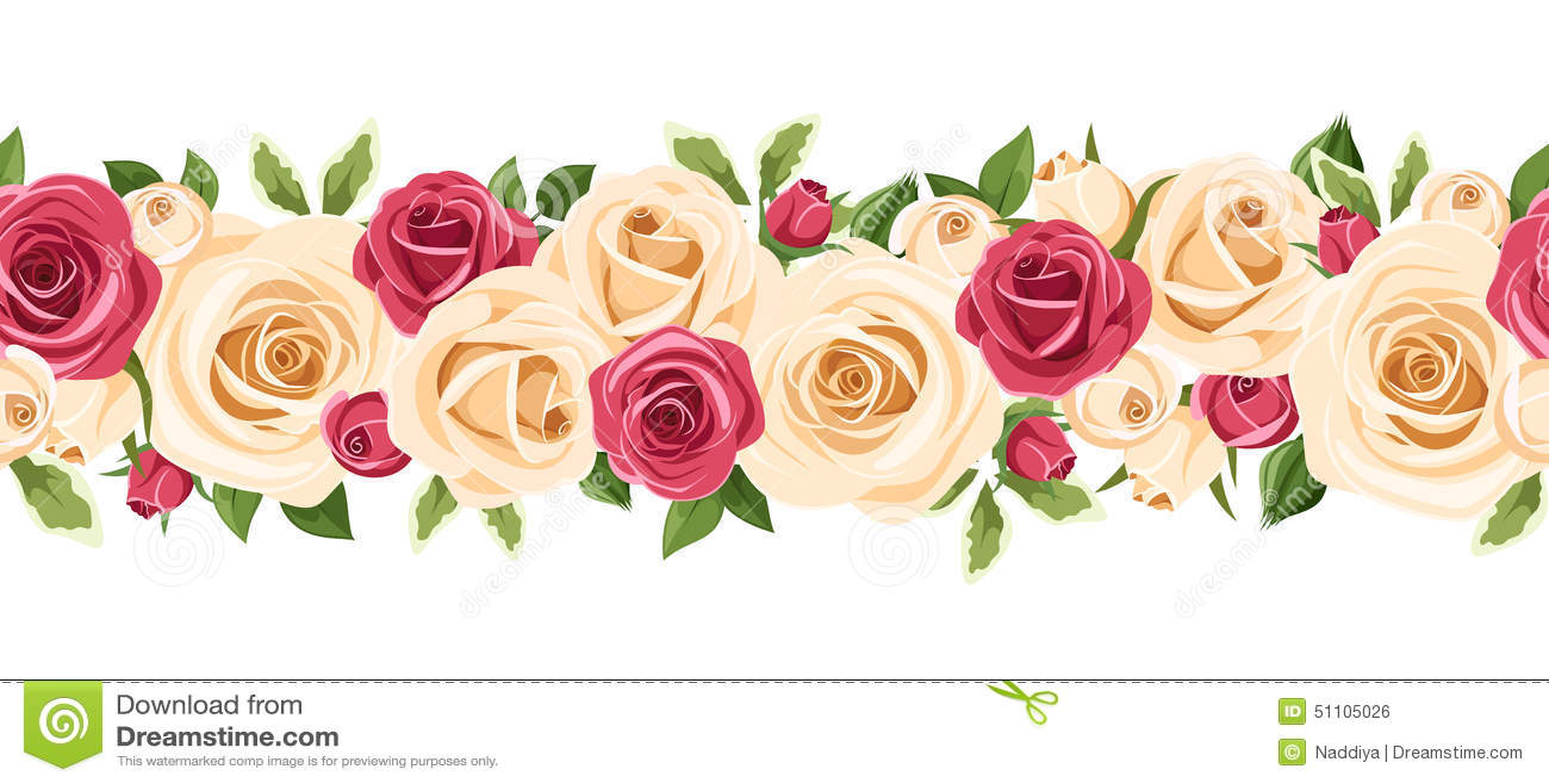 Flores Vectoriales Con Fondo Transparente: Fondo Inconsútil Horizontal Con Las Rosas Rojas Y Blancas