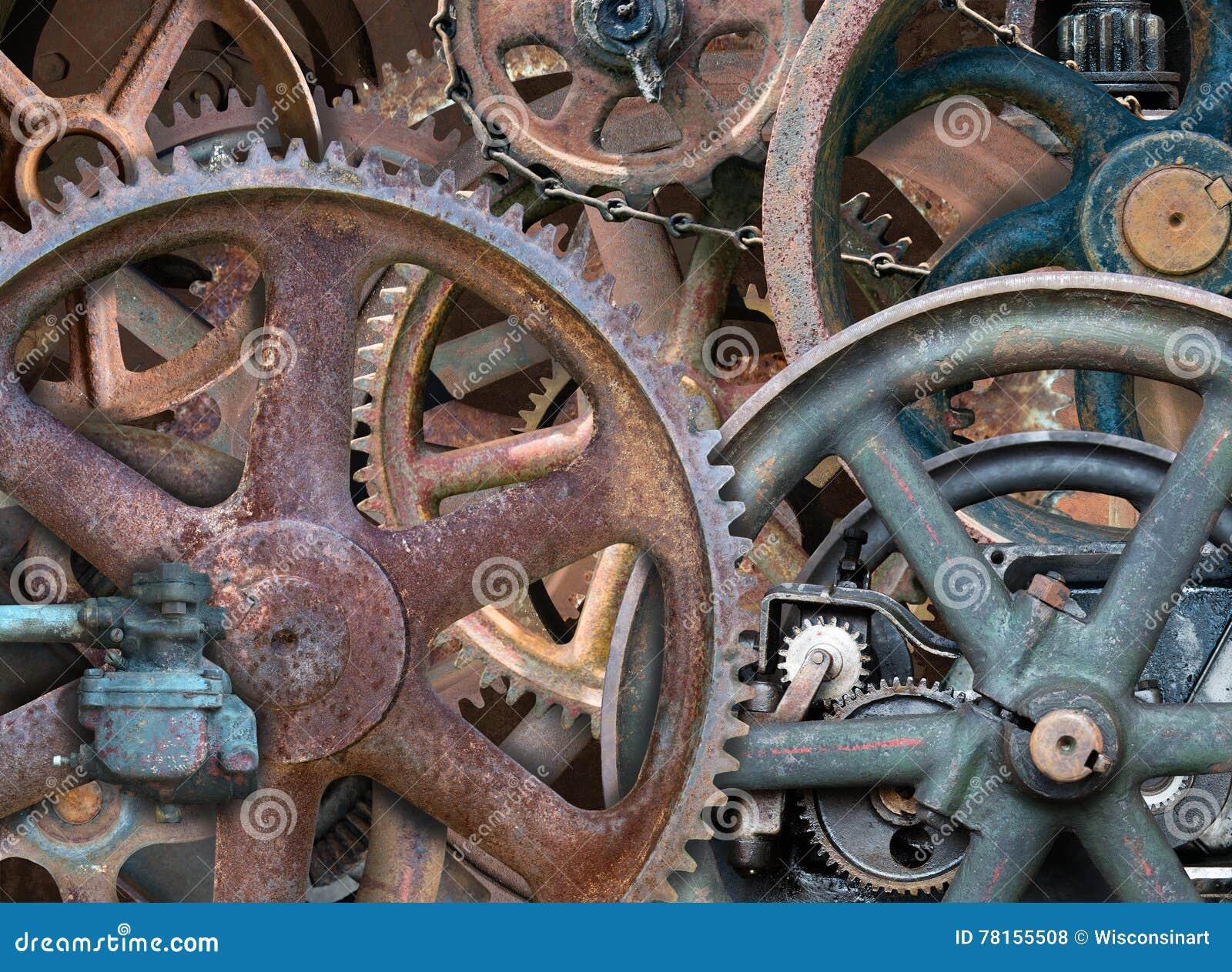 Fondo industriale di Steampunk, ingranaggi, ruote