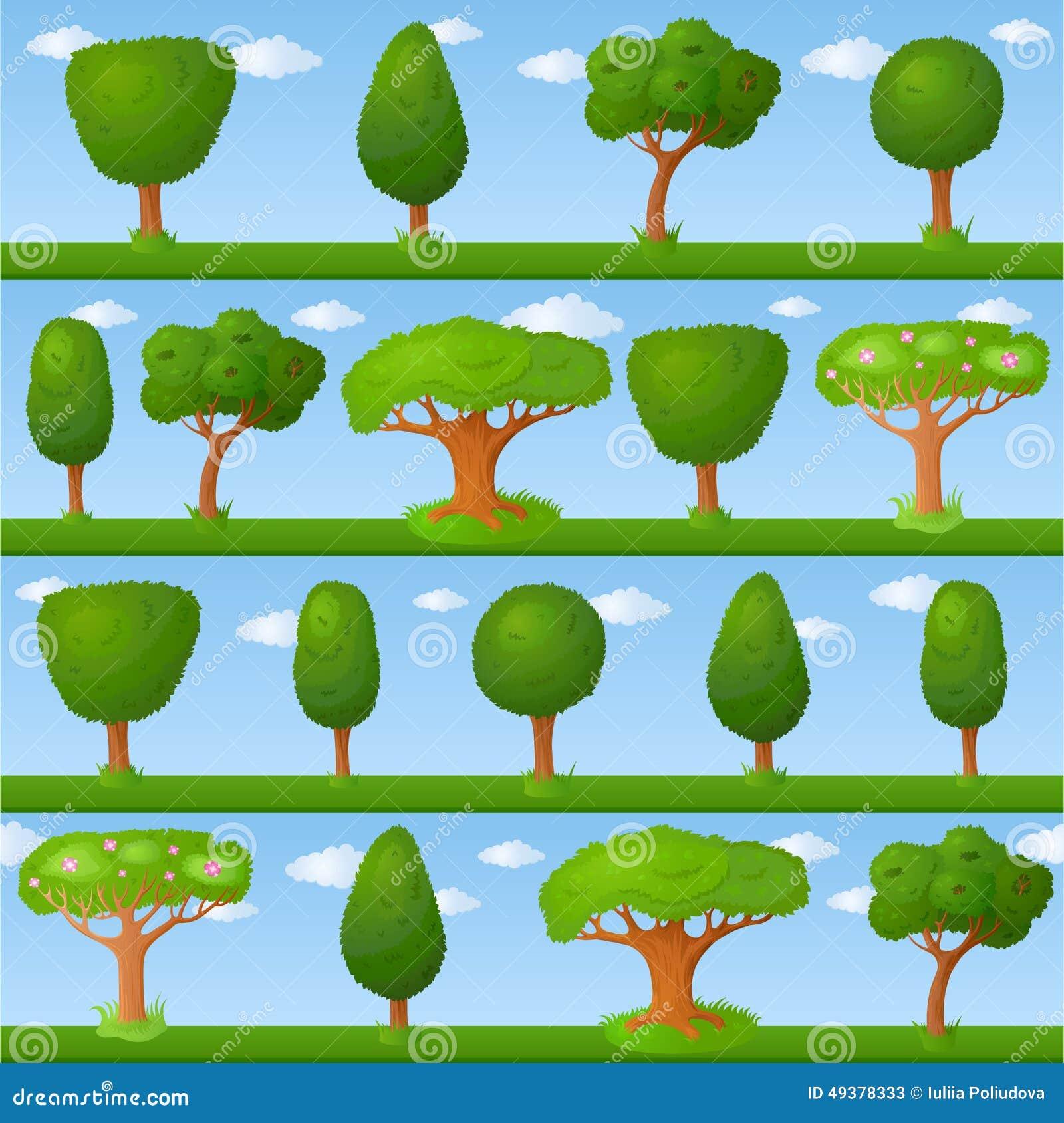 Fondo infantil con los pequeños árboles