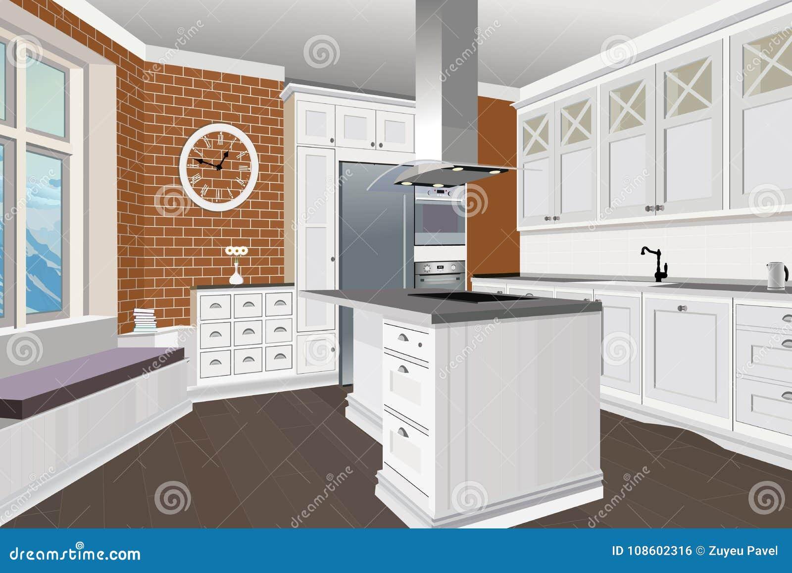 Fondo interior de la cocina con muebles dise o de cocina - Interior muebles cocina ...