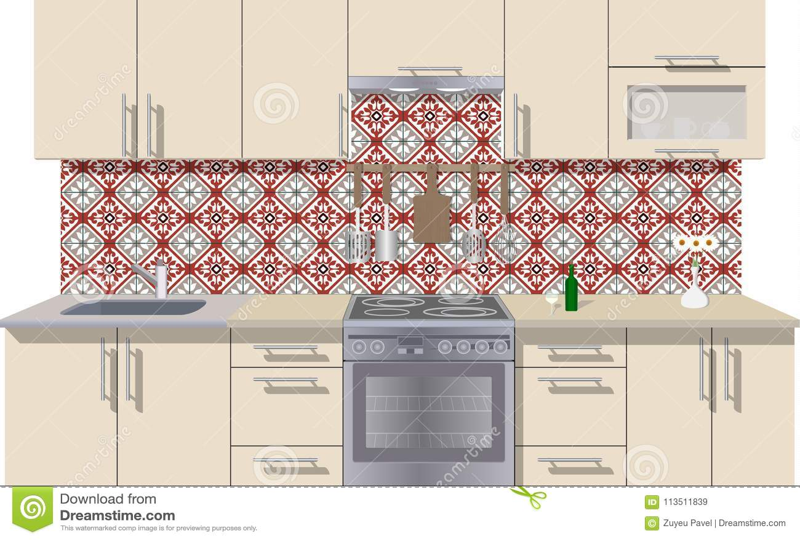 Fondo Interior De La Cocina Con Muebles Diseño De Cocina Moderna ...