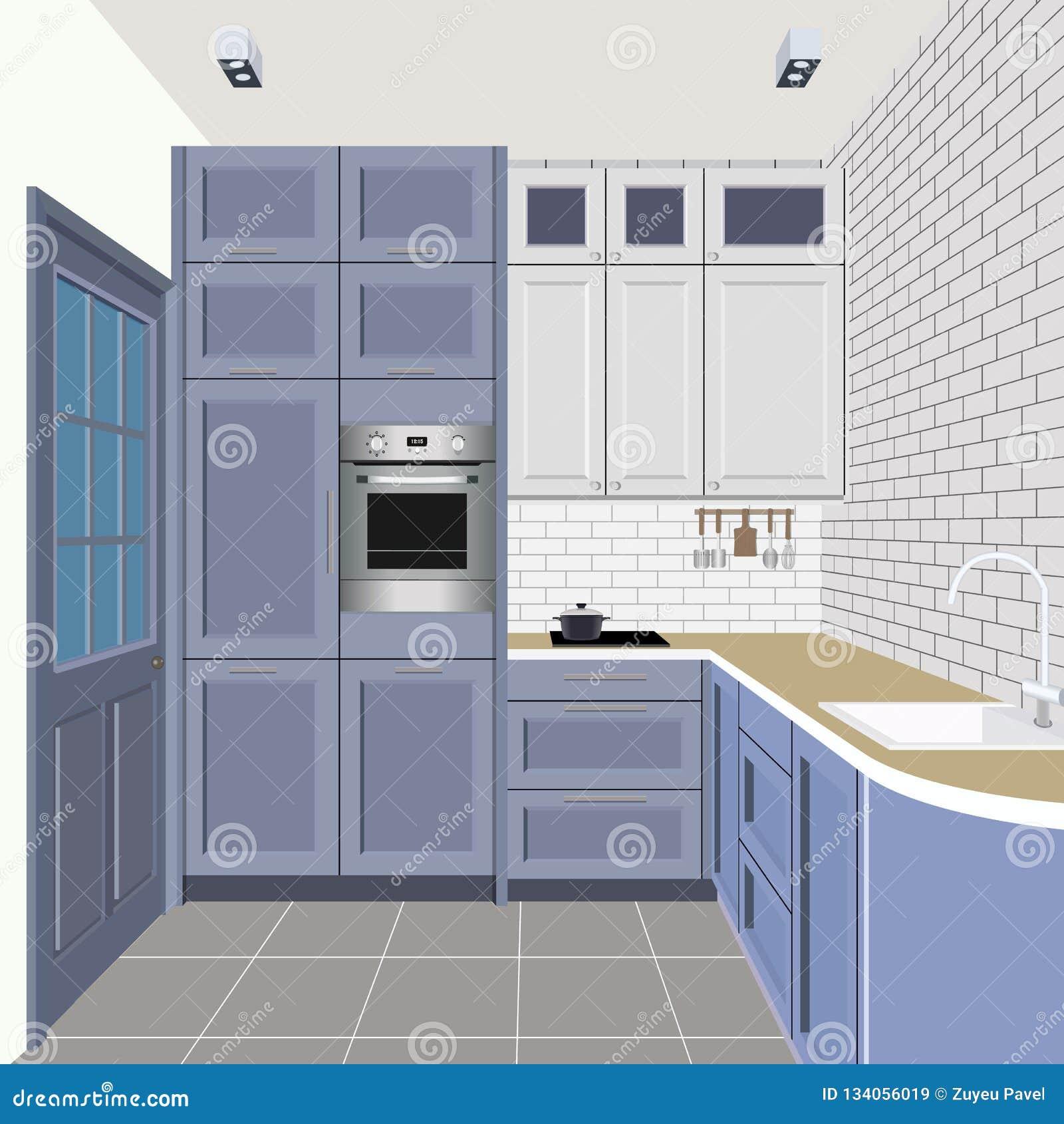 Fondo Interior De La Cocina Con Muebles Diseño De Cocina ...