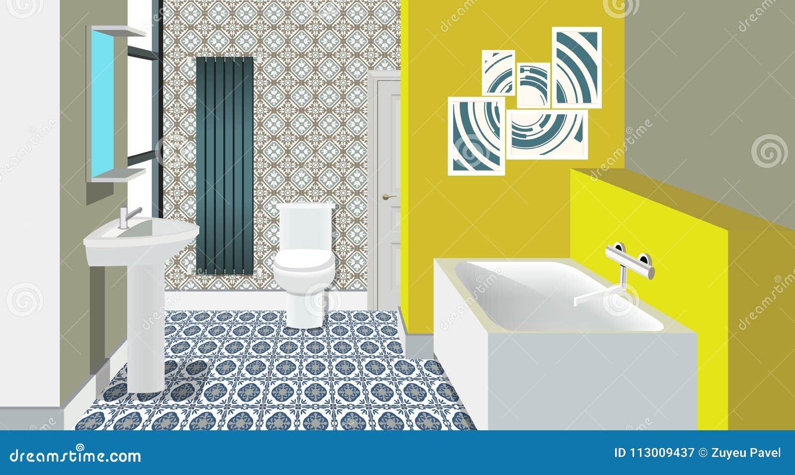 Fondo Interior Del Cuarto De Baño Con Muebles Diseño De ...