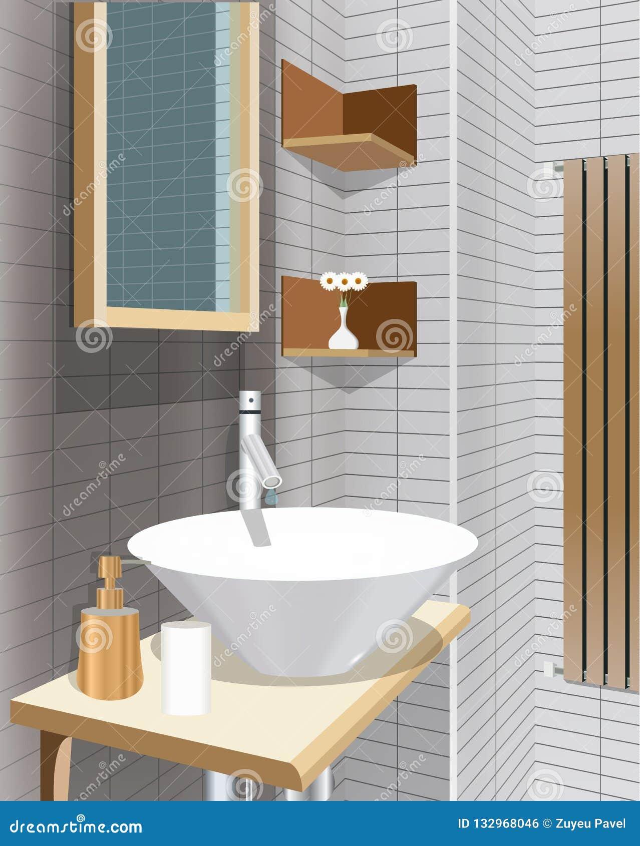 Fondo Interior Del Cuarto De Baño Negro Con Muebles Diseño ...