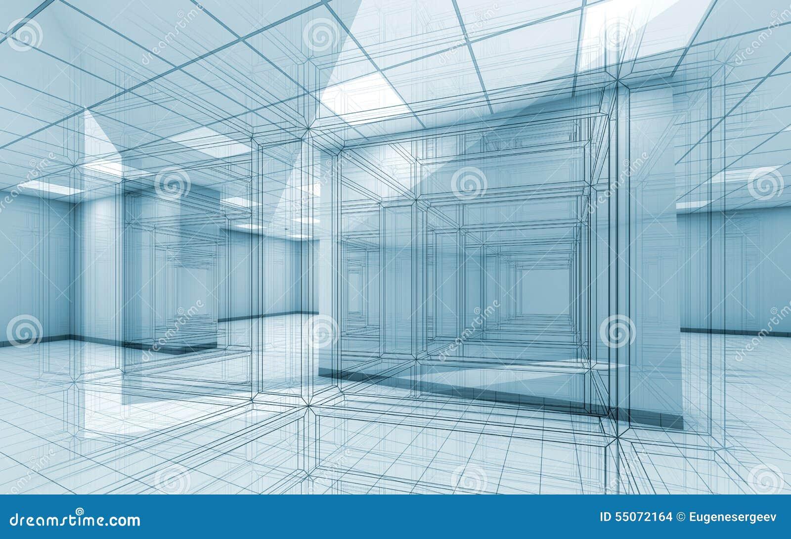 Fondo interno della stanza dell ufficio con le linee della cavo-struttura