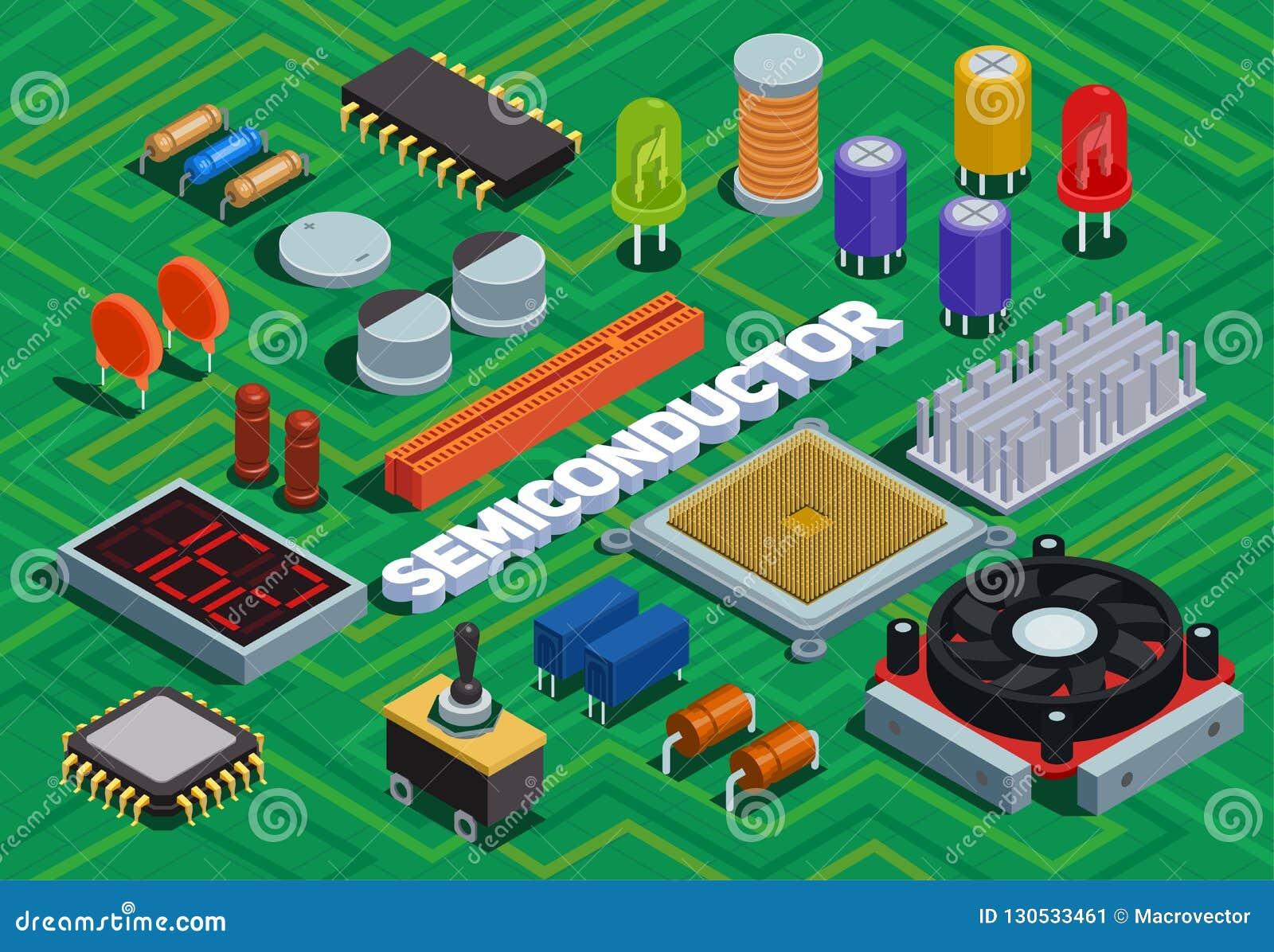 Fondo isométrico del semiconductor