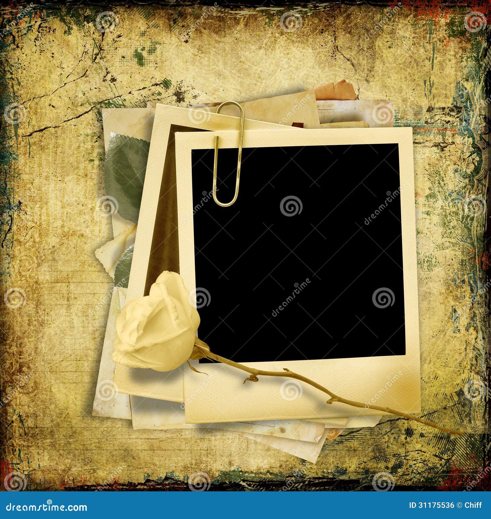 Fondo lamentable del vintage con el polaroid marco stock de ilustraci n ilustraci n de - Marcos de fotos vintage ...