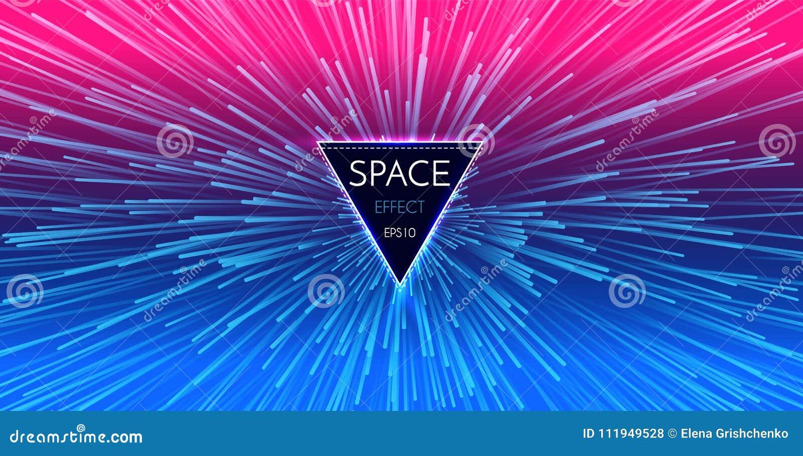 Fondo ligero futurista abstracto de la perspectiva y del movimiento Deformación de la estrella en Hyperspace Salto del espacio