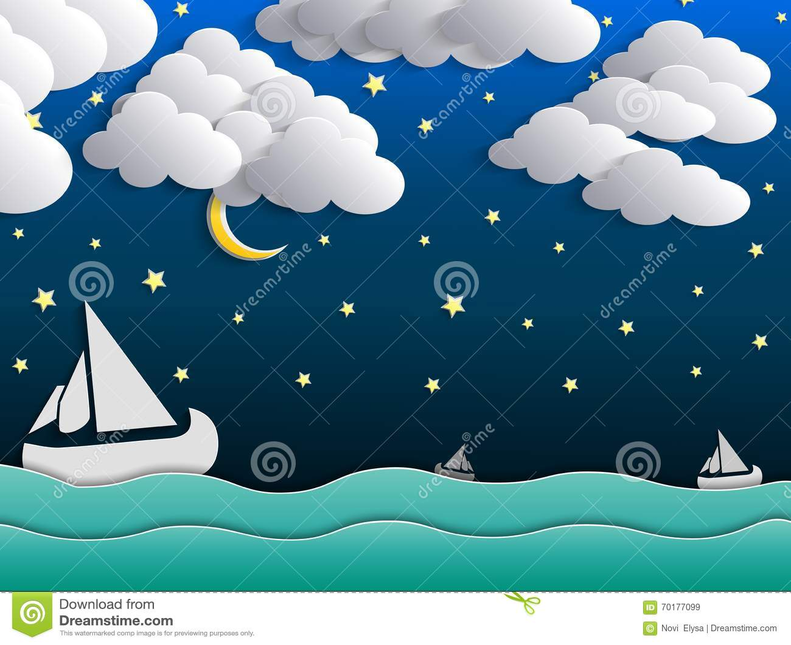 Fondo, Luna, Nubes Y Estrellas De La Noche En El Cielo