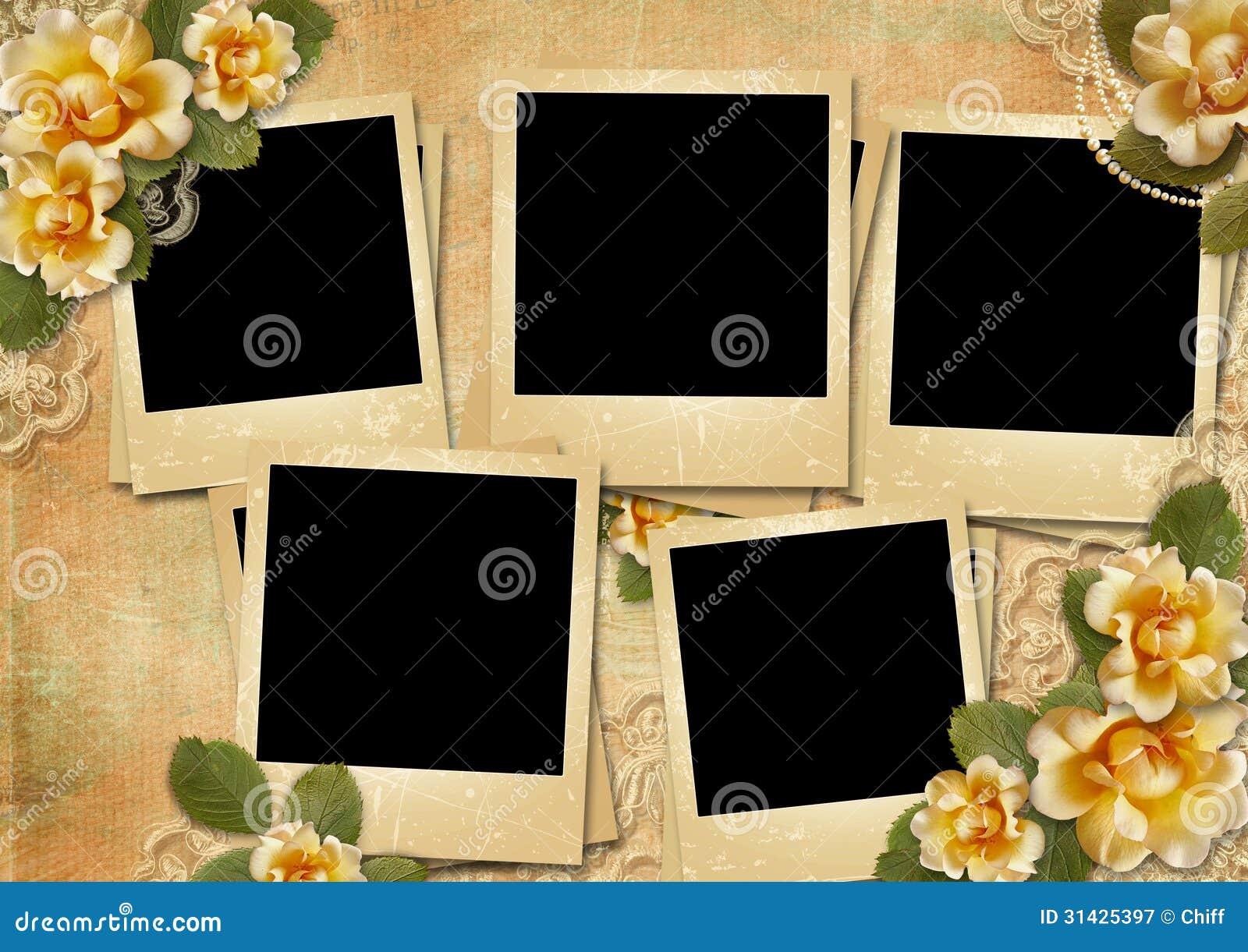Fondo magn fico del vintage con polaroid marcos y rosas - Marcos vintage para fotos ...