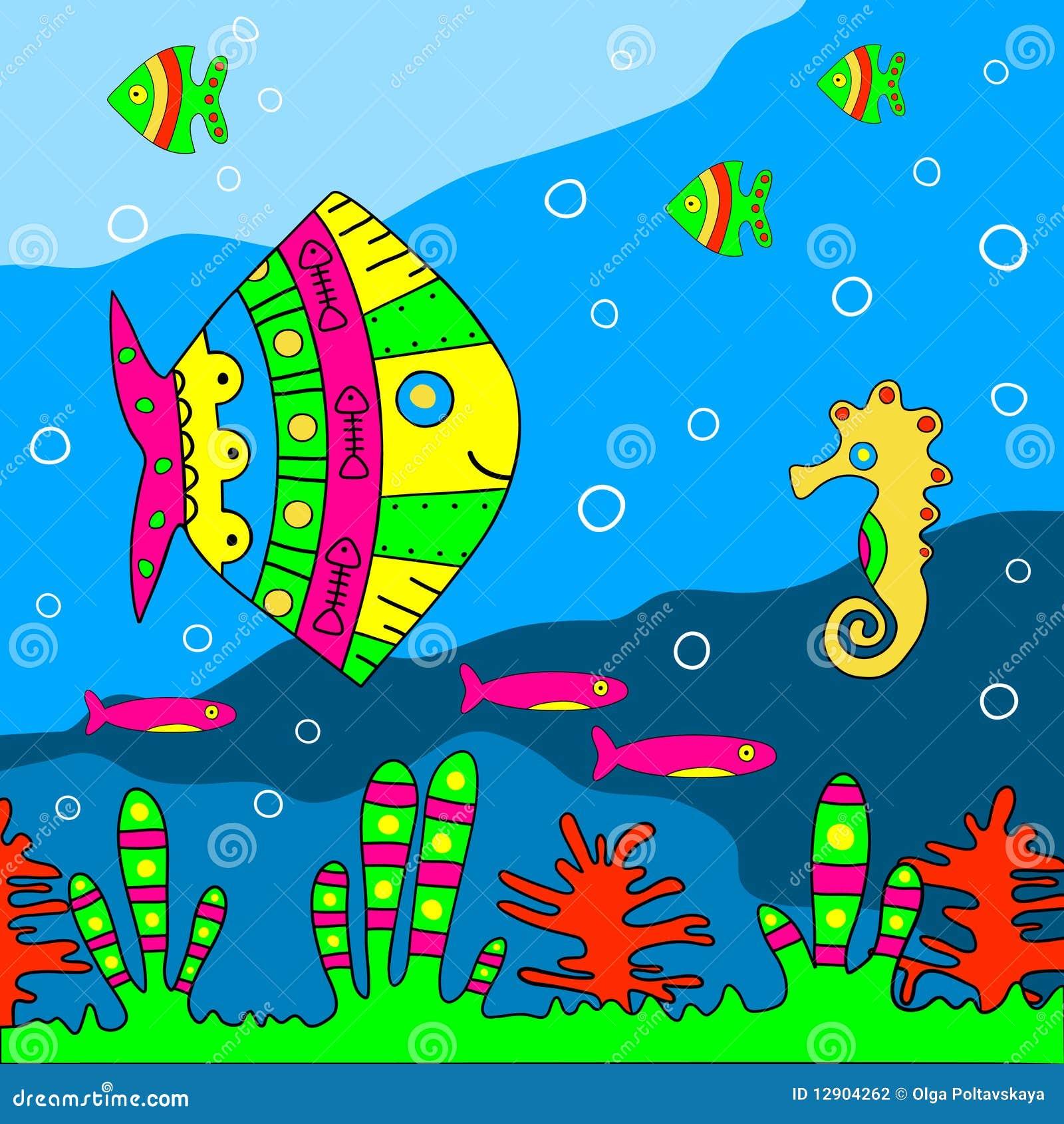 Fondo marino etnico di stile illustrazione di vettore for Fondo marino da colorare
