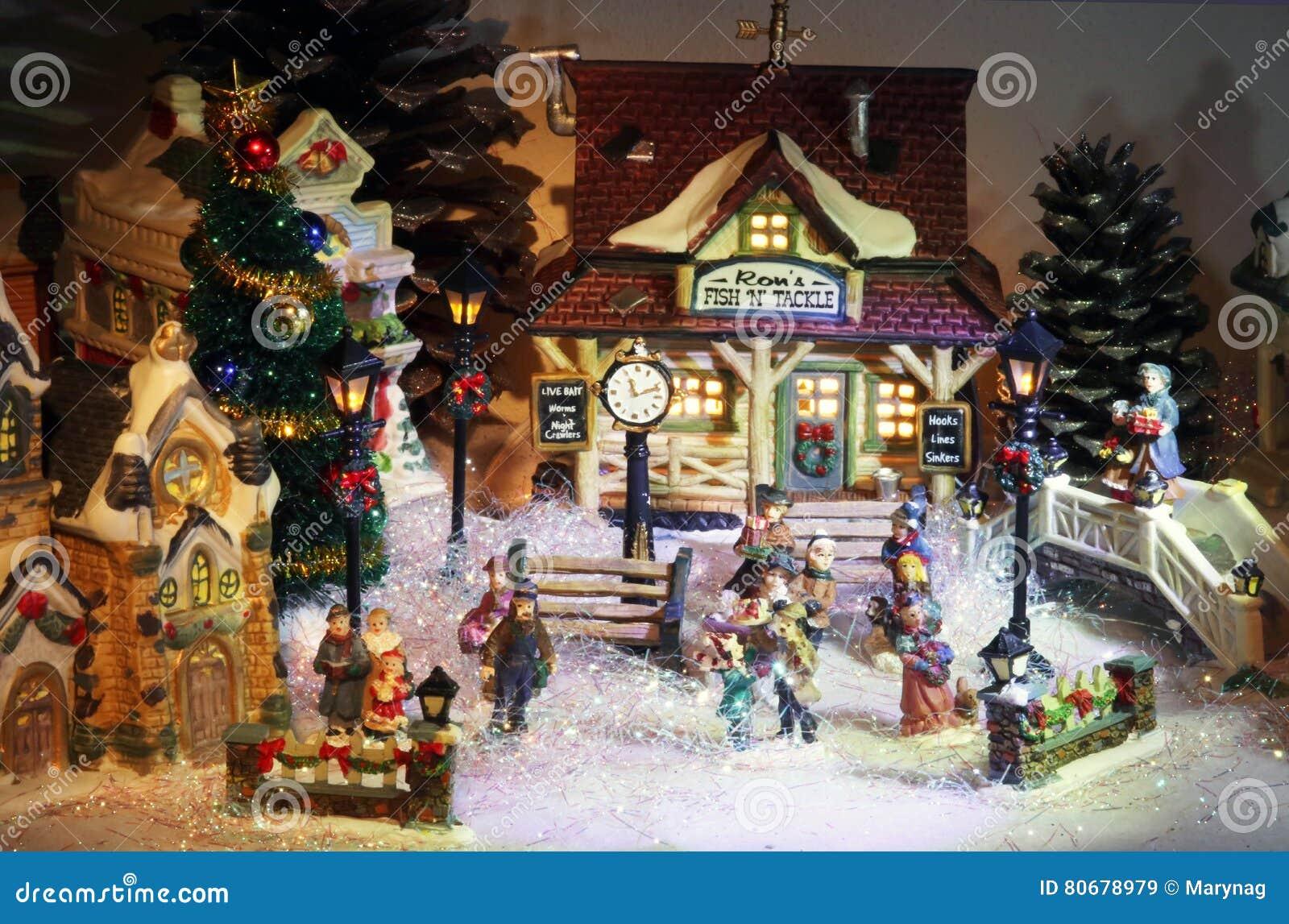 Villaggio Natale.Fondo Miniatura Del Villaggio Di Natale Immagine Stock