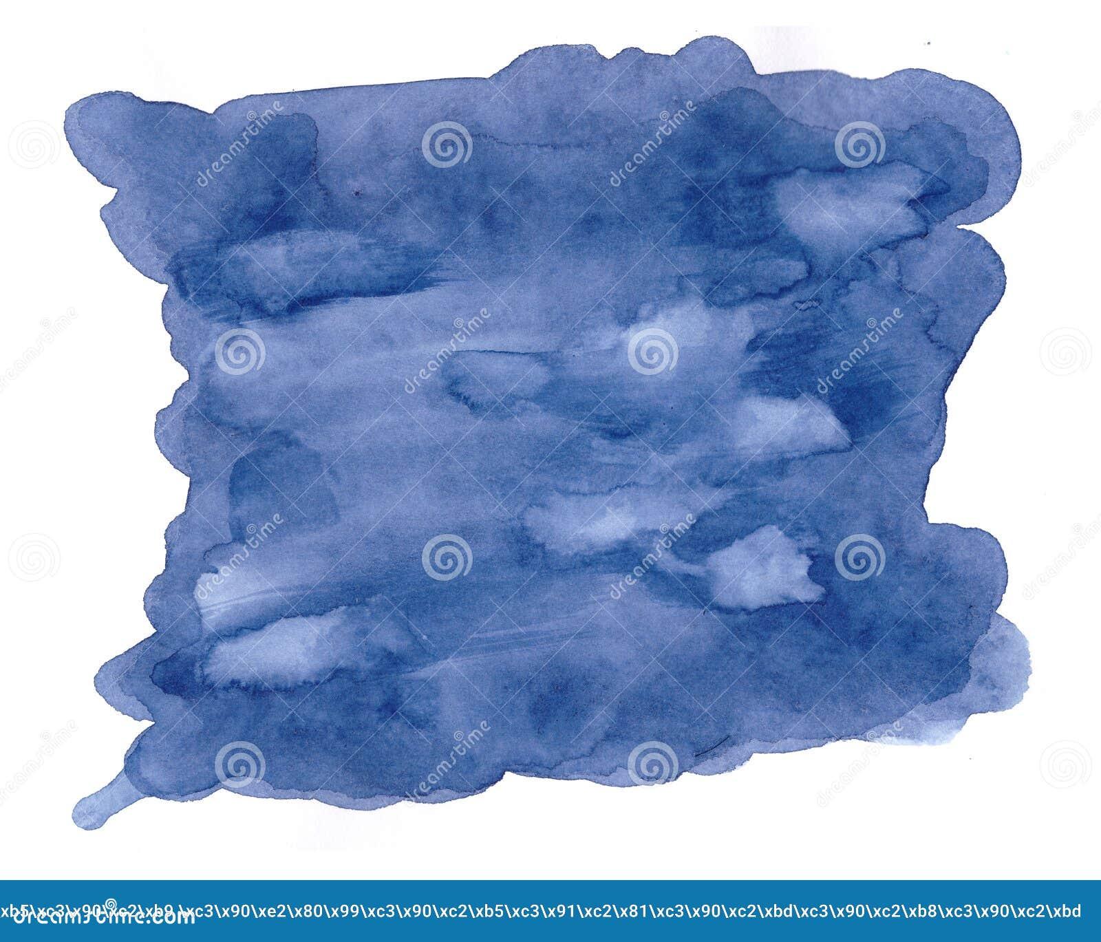 Fondo moderno blu con la spruzzata dell acquerello Contesto creativo con macchia realistica e posto per testo